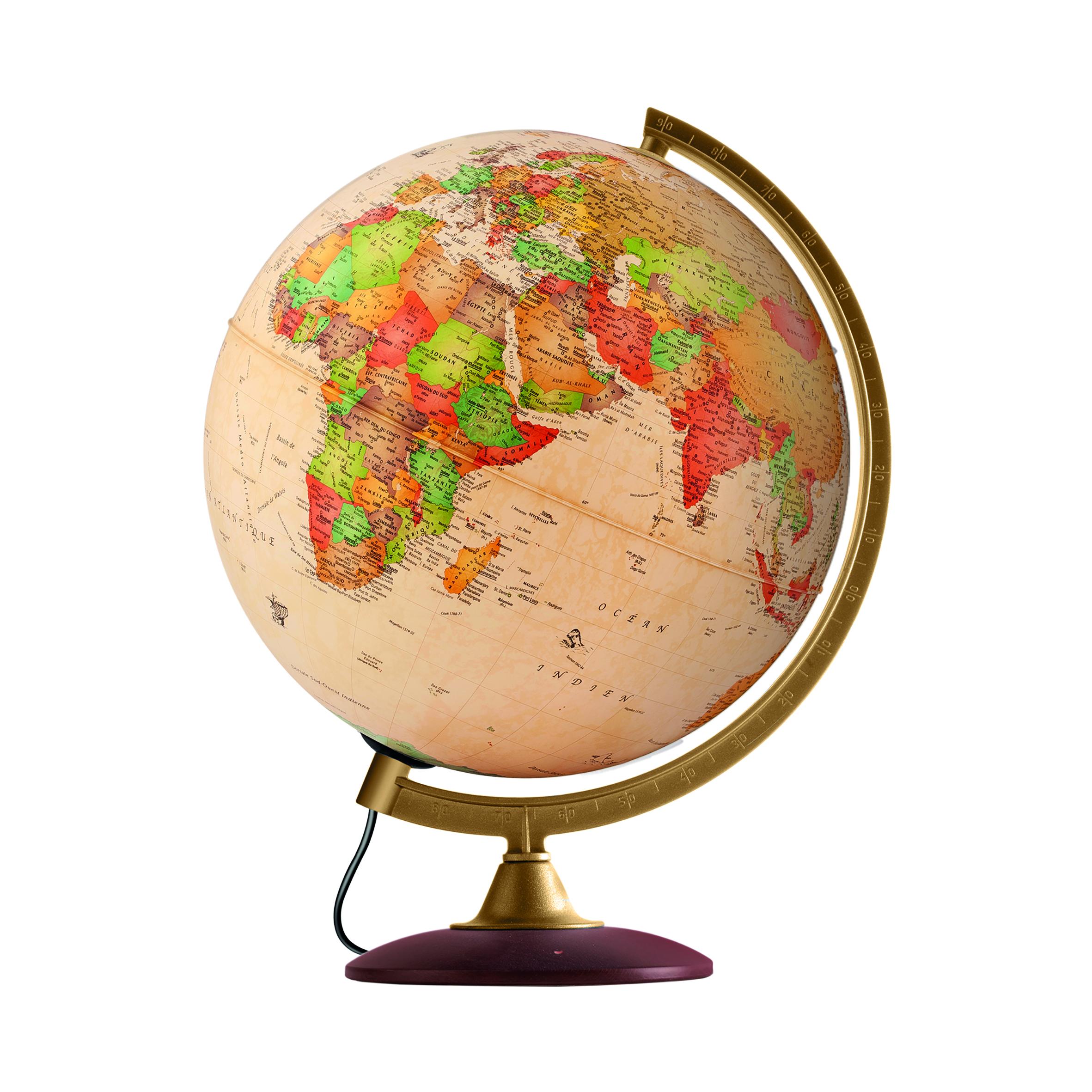 COLOMBO 30 - Globe terrestre, antique, lumineux, textes en français