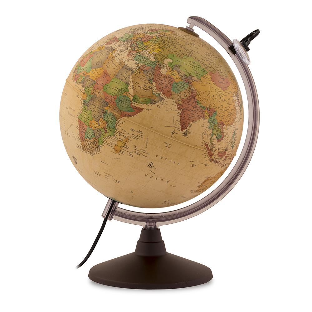MARCO POLO - Globe terrestre, antique, lumineux, textes en français