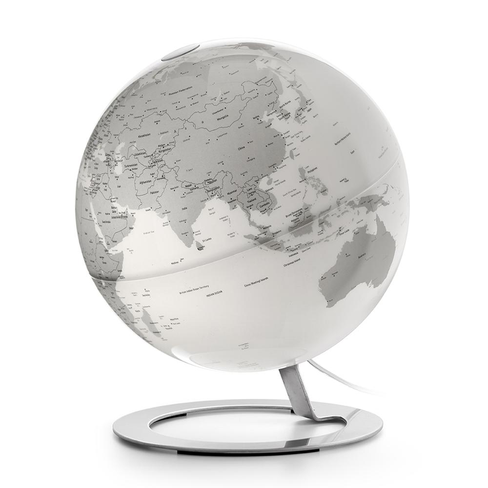 IGLOBE CHROME - Globe terrestre de design, lumineux, textes en anglais