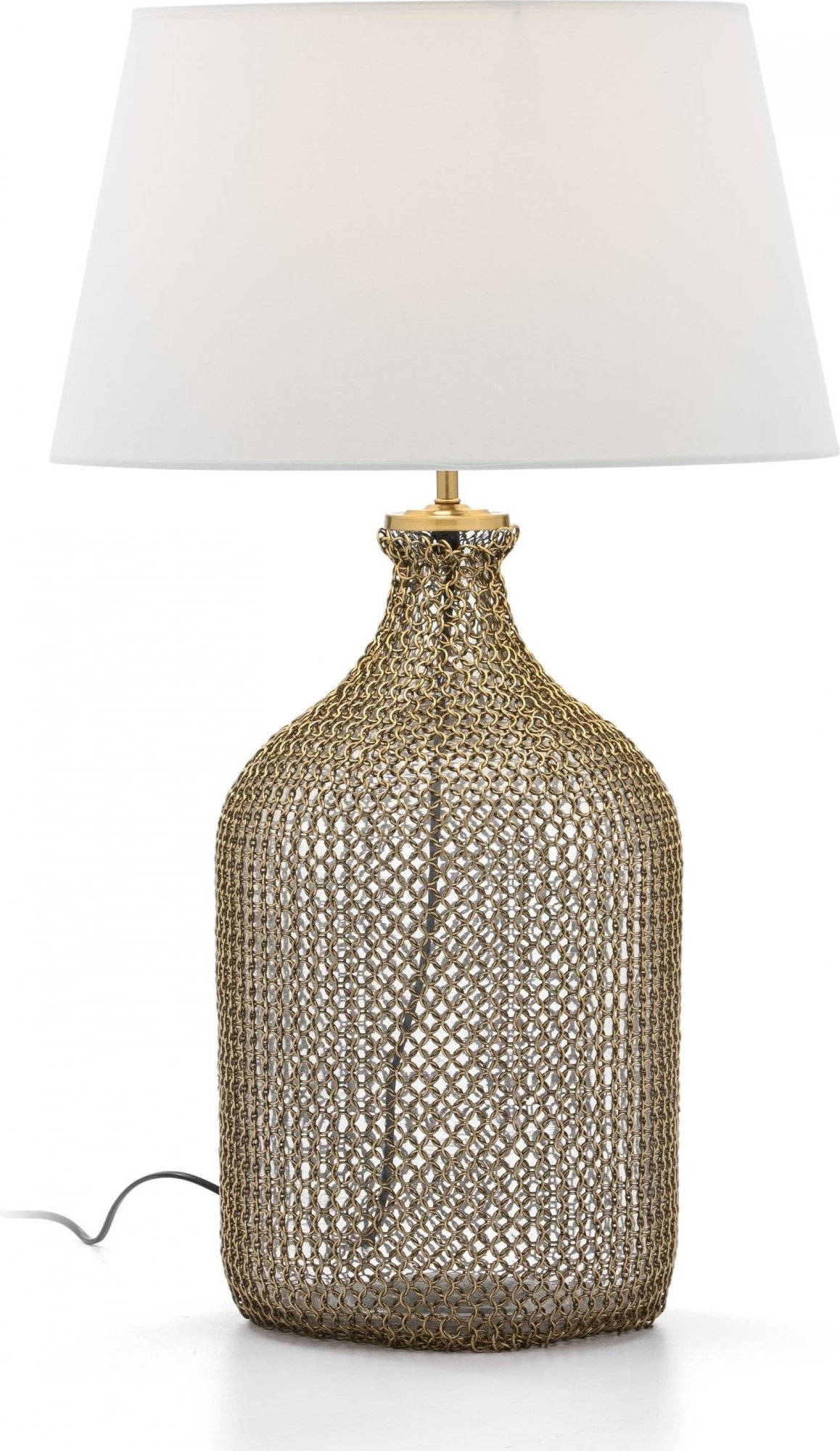 Lampe de table en verre et métal doré 26x26x55
