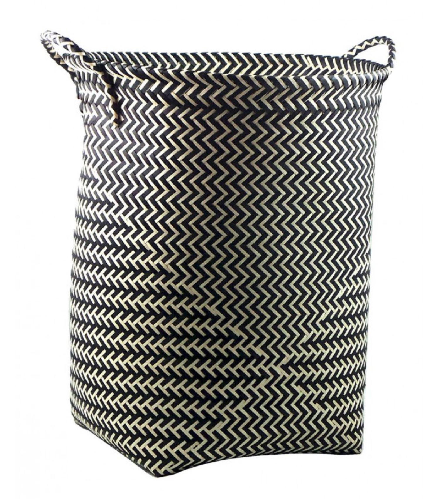 Grand panier à linge en polypropylène noir et blanc