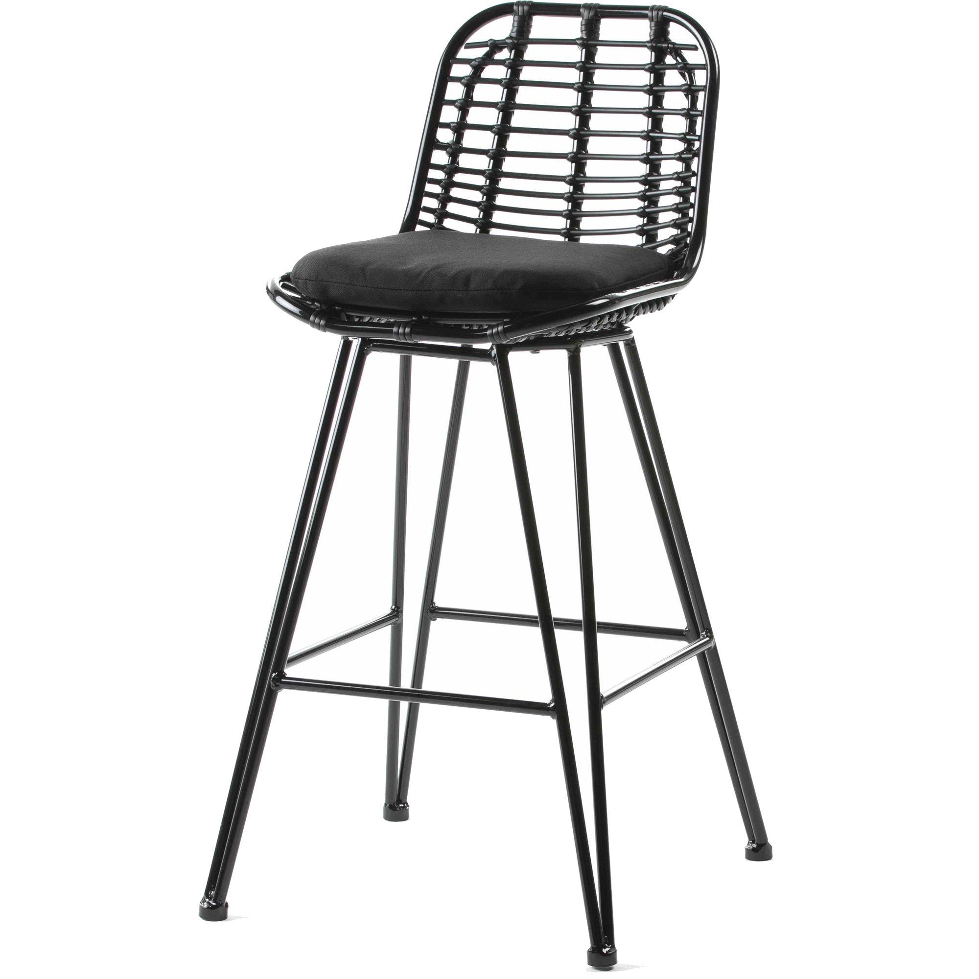 Tabouret haut d'extérieur en aluminium et assise noir