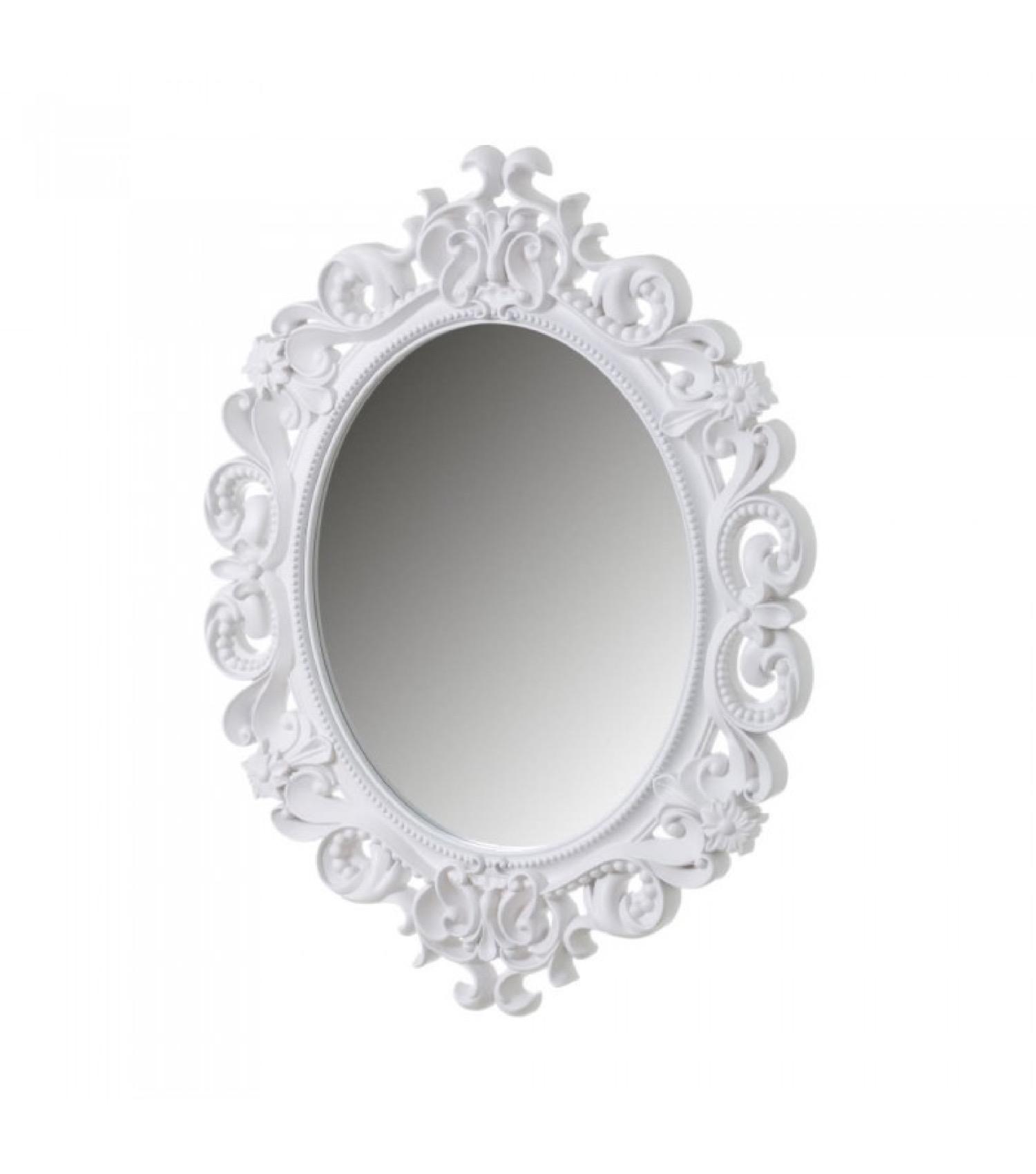 Miroir mural ovale blanc avec larges moulures 60x80
