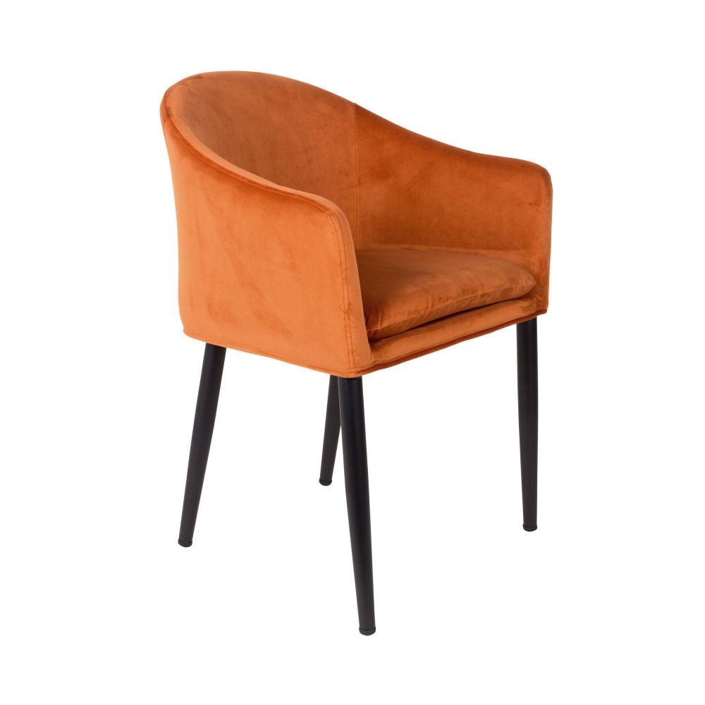Fauteuil de table design en velours orange