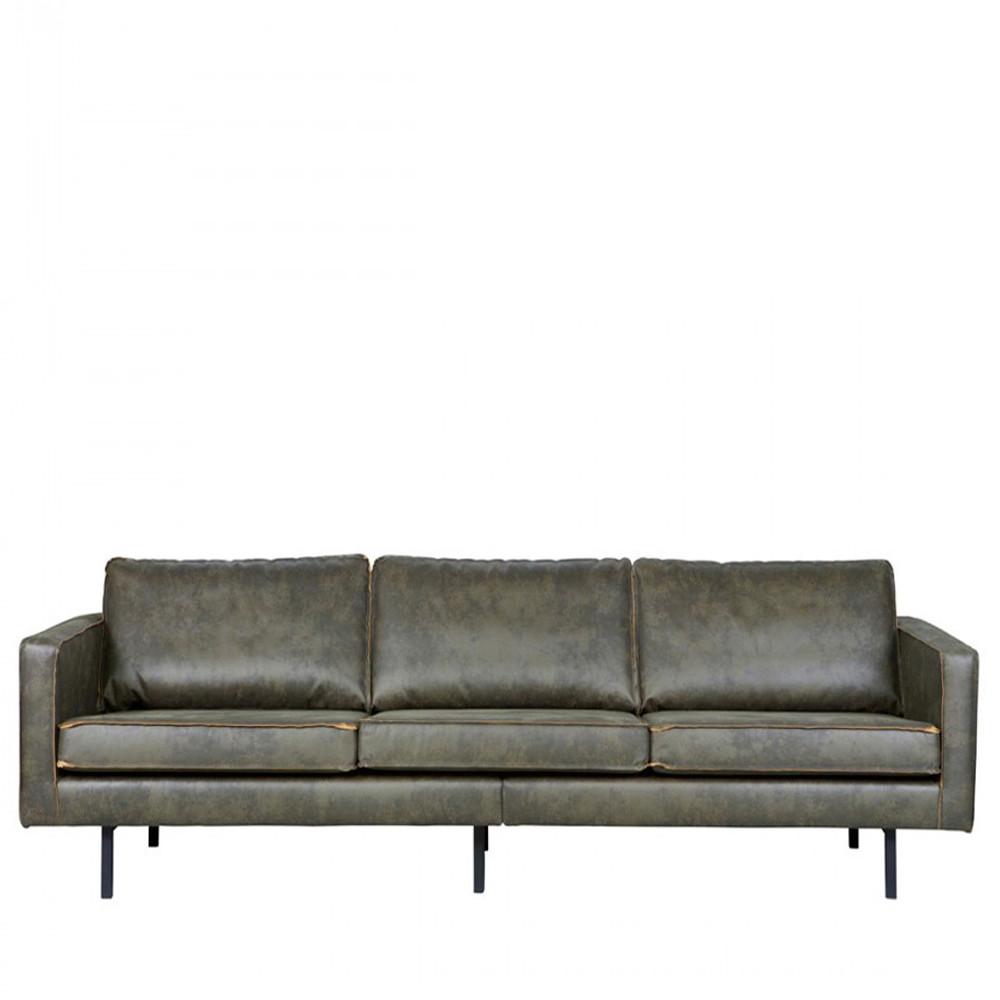 Canapé droit 4 places Noir Cuir Rétro Confort
