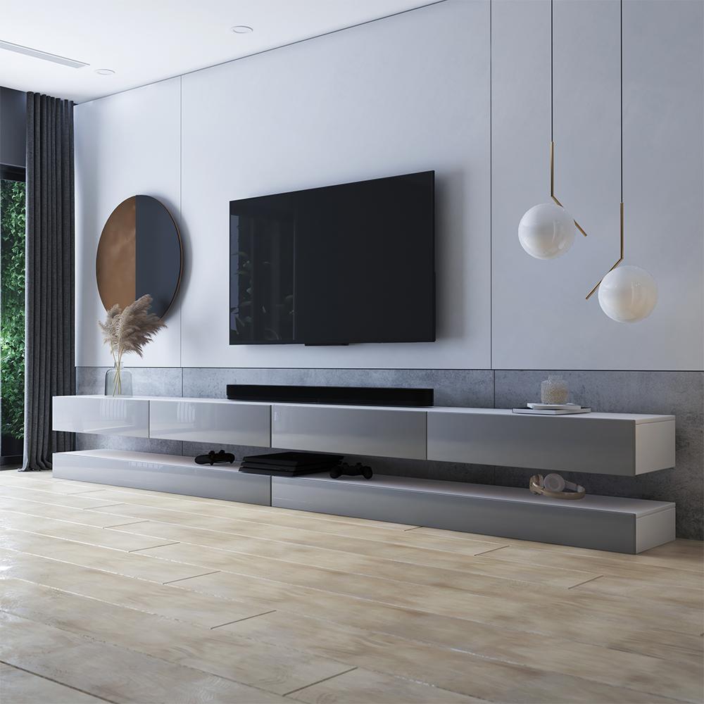Meuble tv suspendu 4 tiroirs blanc mat gris brillant