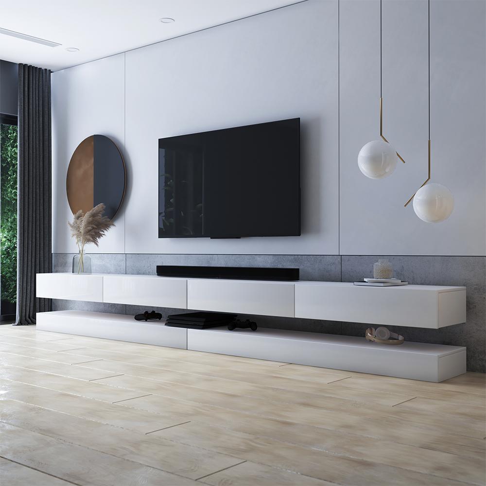 Meuble tv suspendu 4 tiroirs blanc mat blanc brillant