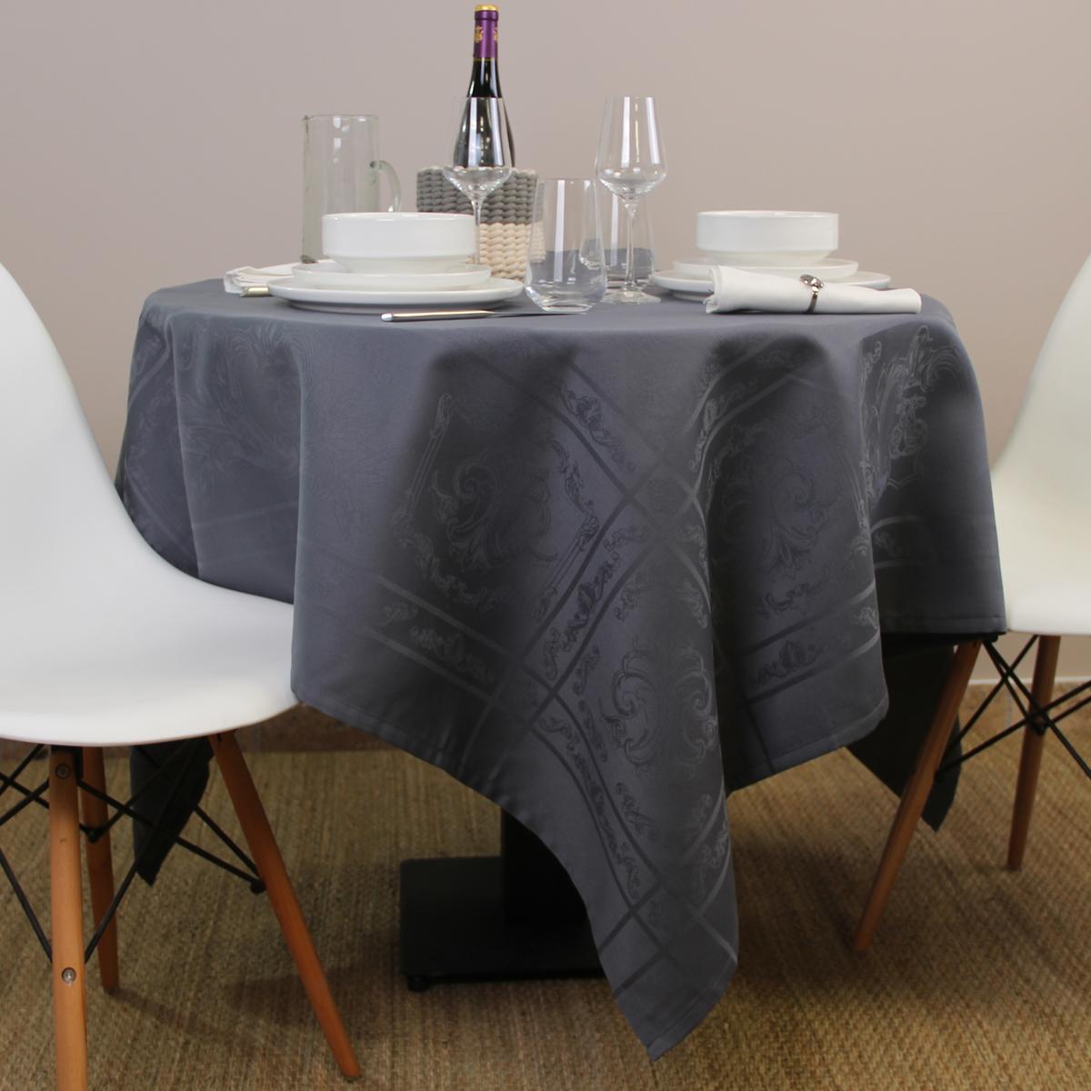 Nappe carrée en jacquard polyester anthracite 150x150