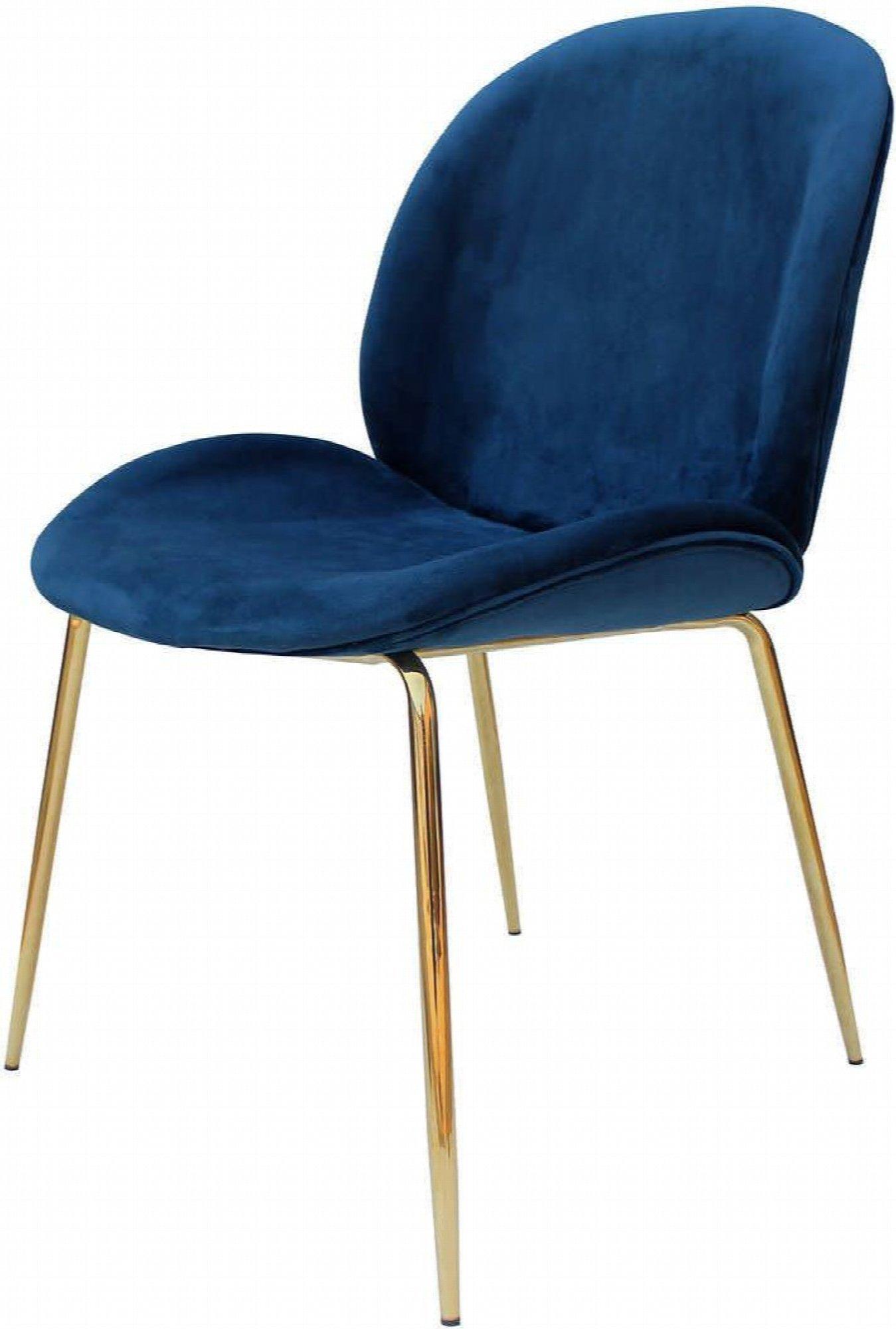 maison du monde Chaise rembourrée assise bleu pétrole pieds doré (lot de 2)