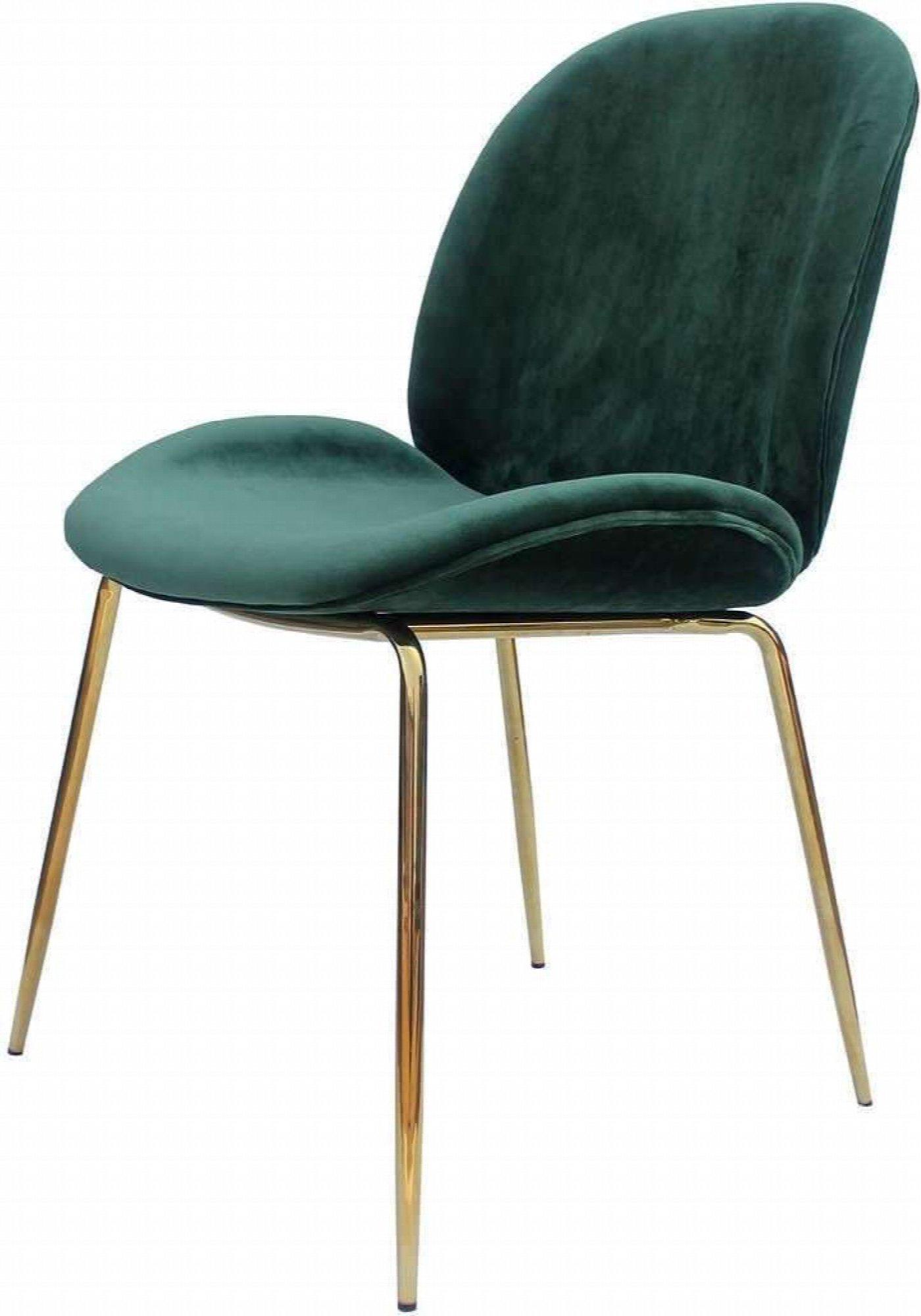 maison du monde Chaise rembourrée assise vert bouteille pieds doré (x2)