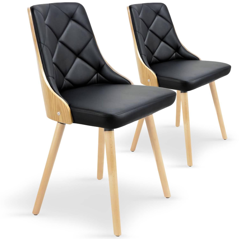 Lot de 2 chaises scandinaves  chêne clair & noir