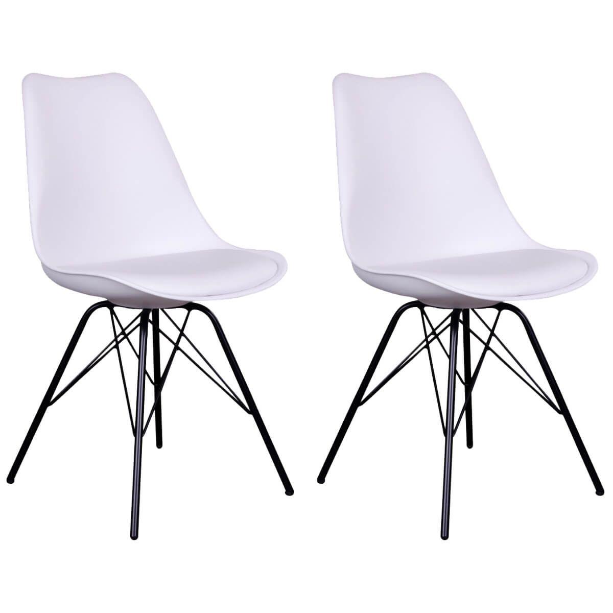 Lot de 2 chaises blanches avec piétement métallique