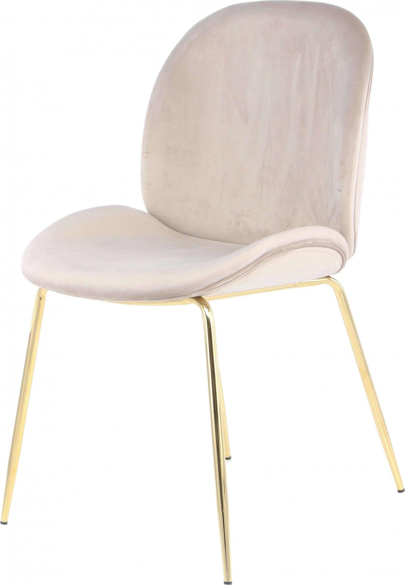 maison du monde Chaise rembourrée assise beige clair pieds doré (lot de 2)