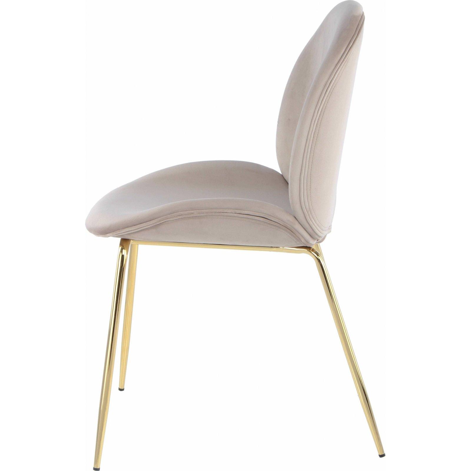 Chaise rembourrée assise beige clair pieds doré (lot de 2)