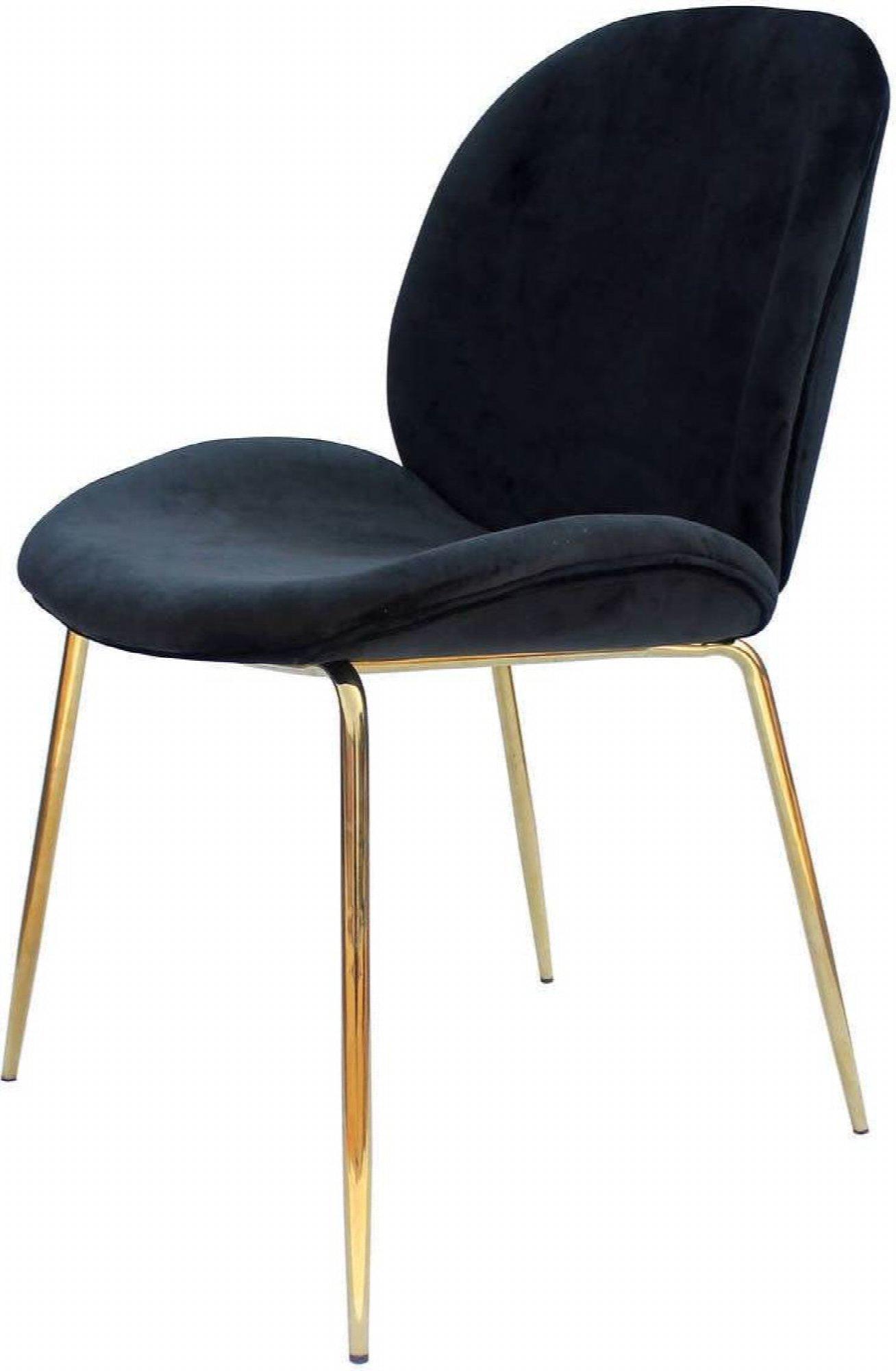 maison du monde Chaise rembourrée assise noir pieds doré (lot de 2)