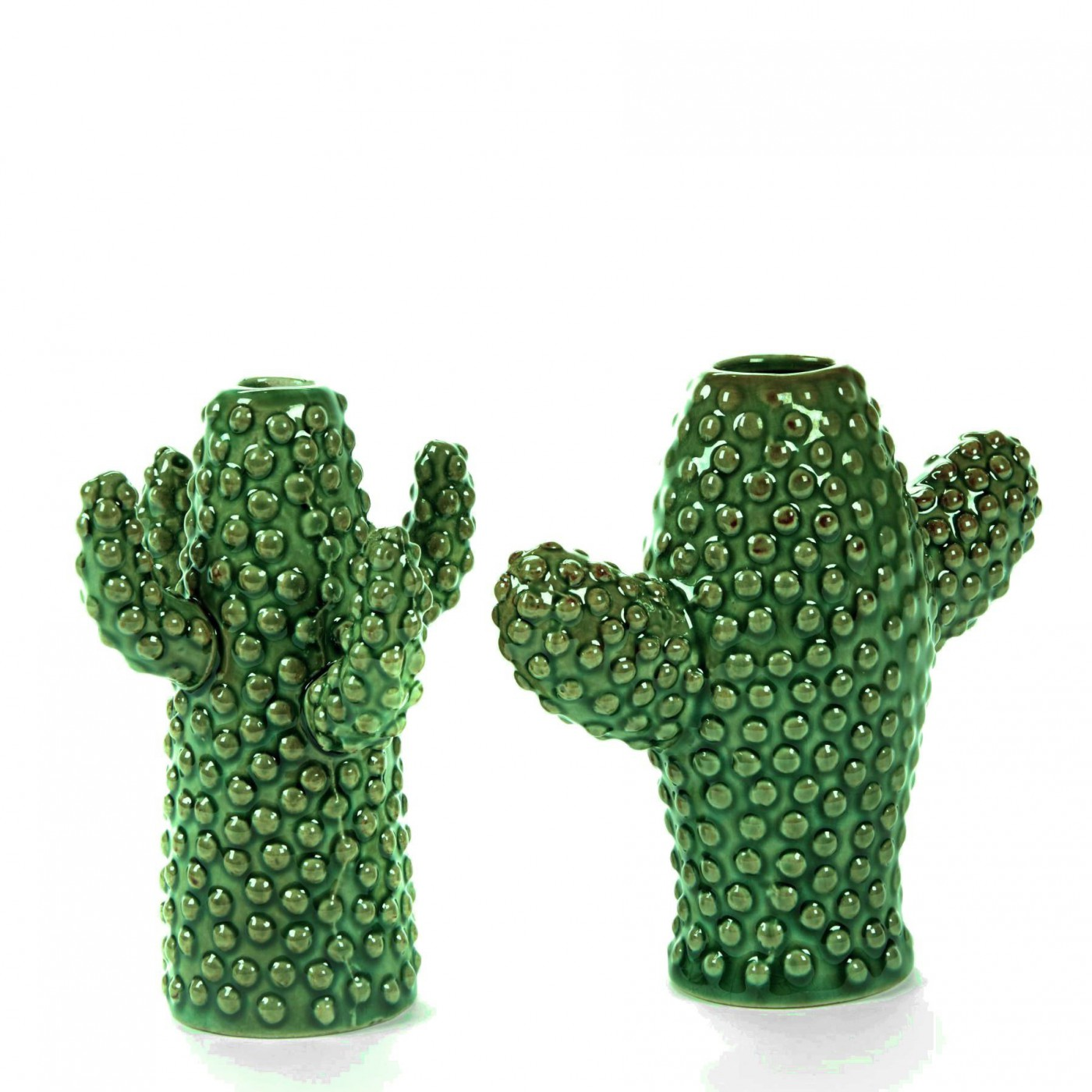 Lot de 2 vases cactus mini porcelaine verte