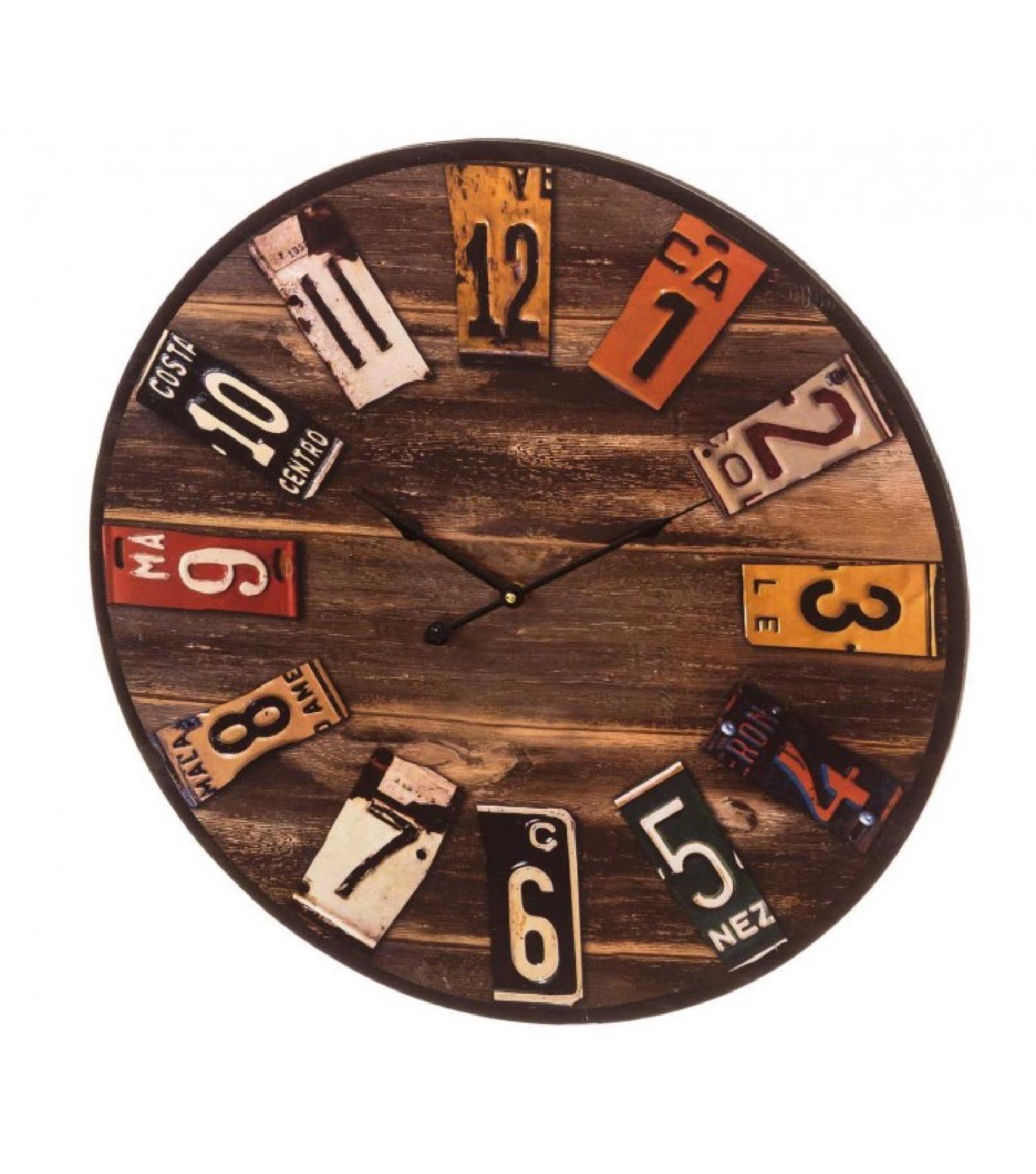 Horloge murale ronde multicolore bois D60