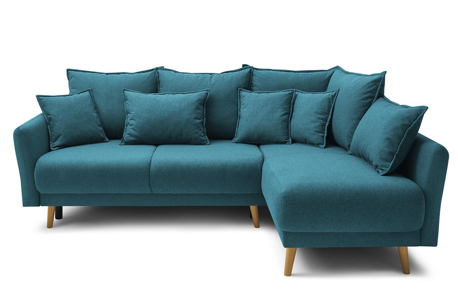 Canapé d'angle droit convertible 4 places Tissu Bleu canard