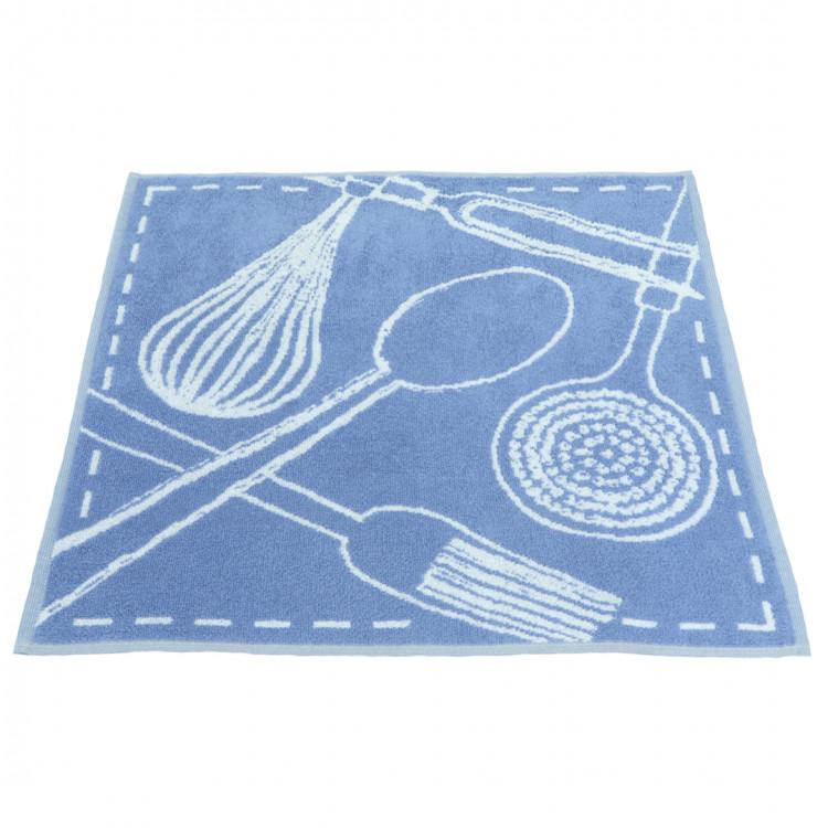 Essuie-mains en coton bleu 50x50
