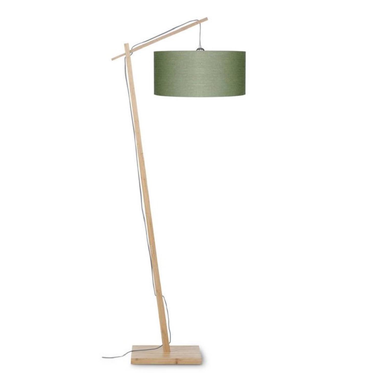 Lampadaire bambou et lin naturel vert H176cm