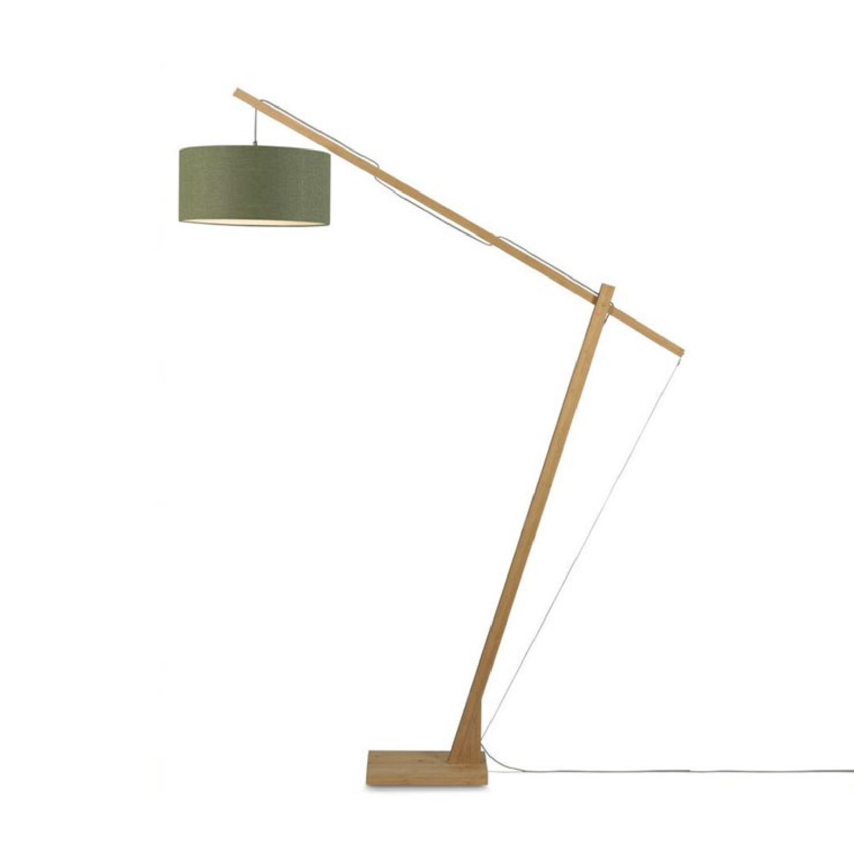 Lampadaire bambou/lin vert H207cm