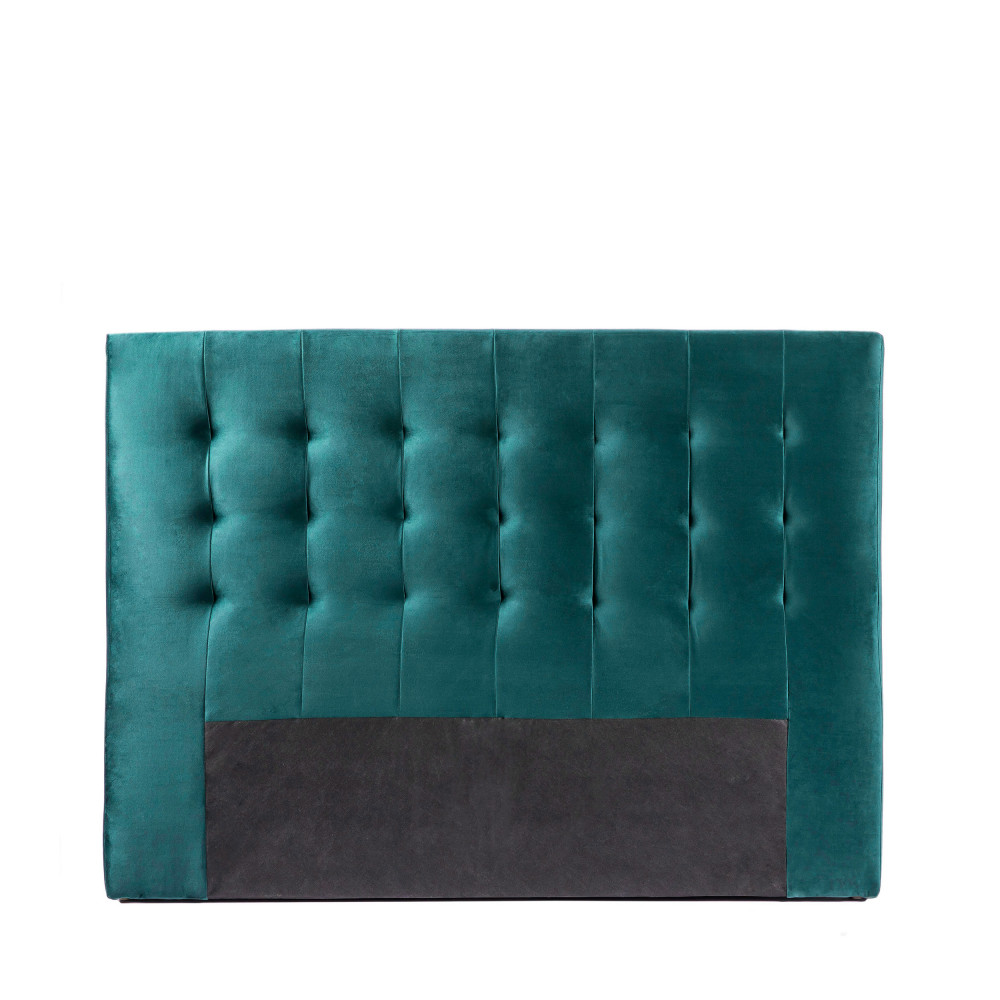 Tête de lit en velours 150 cm bleu canard