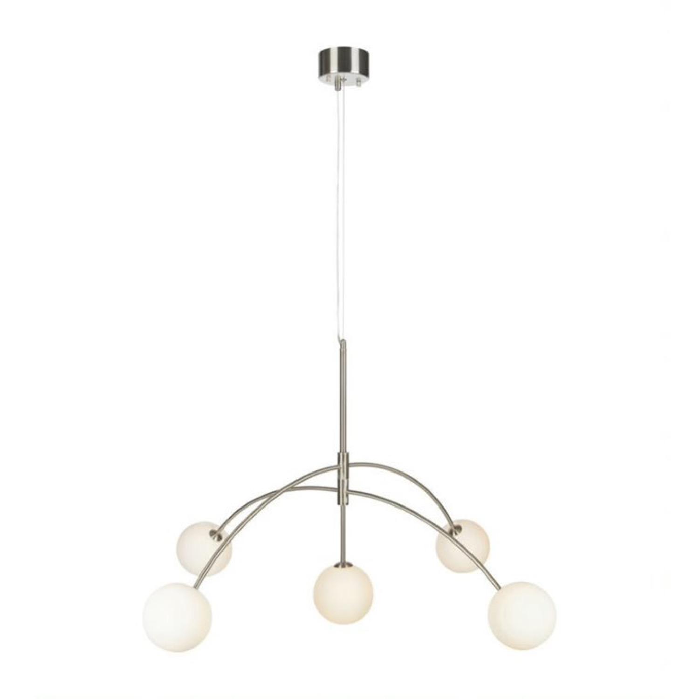 Suspension 5 lumières métal/verre opalin D117cm