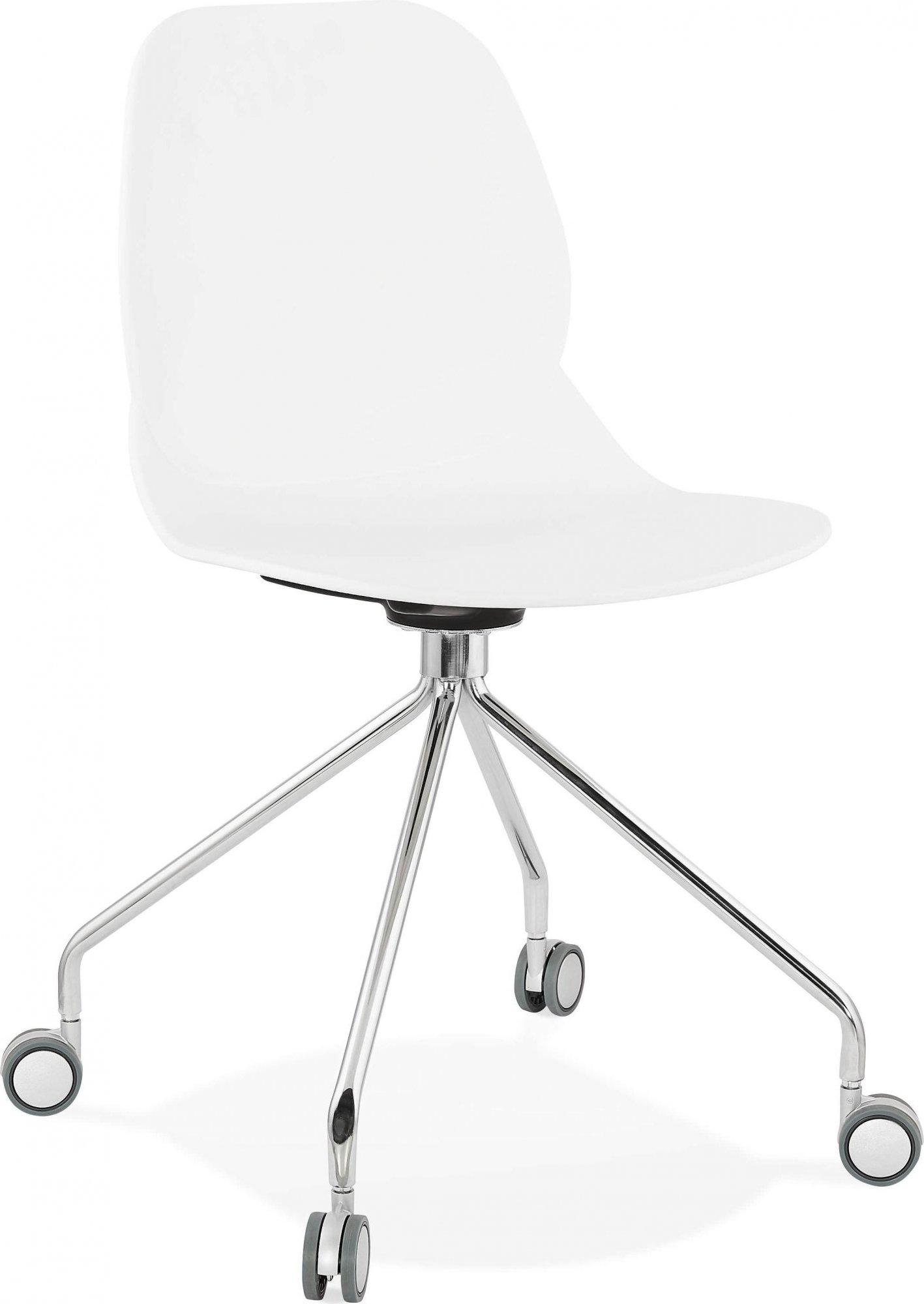 Chaise de bureau a roulettes assise blanc pied métal chromé