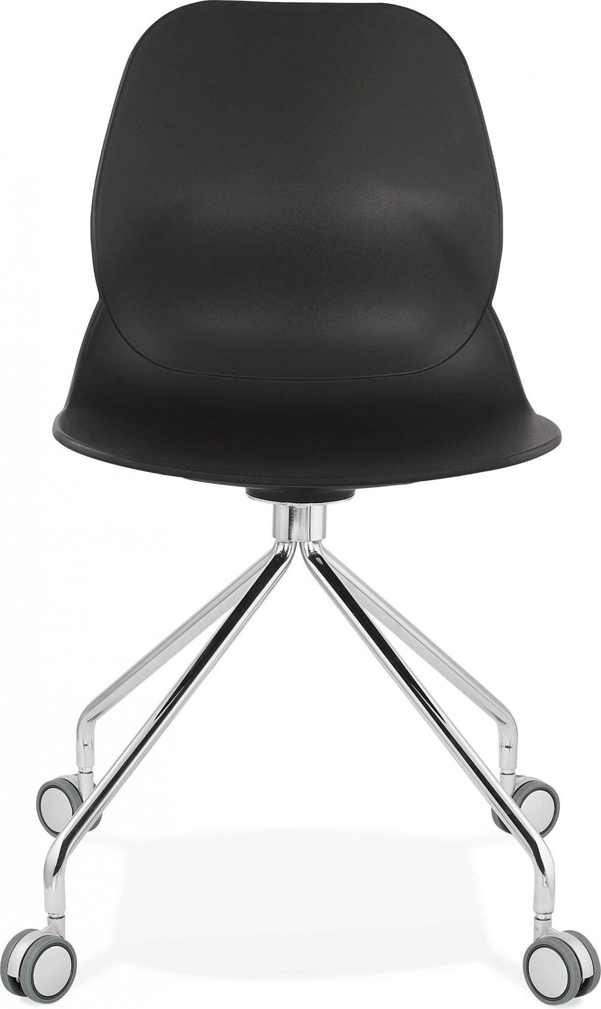 Chaise de bureau a roulettes assise noir pied métal chromé