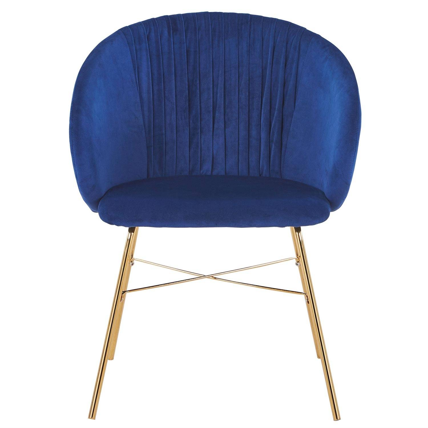 Chaise  velours bleu pieds or