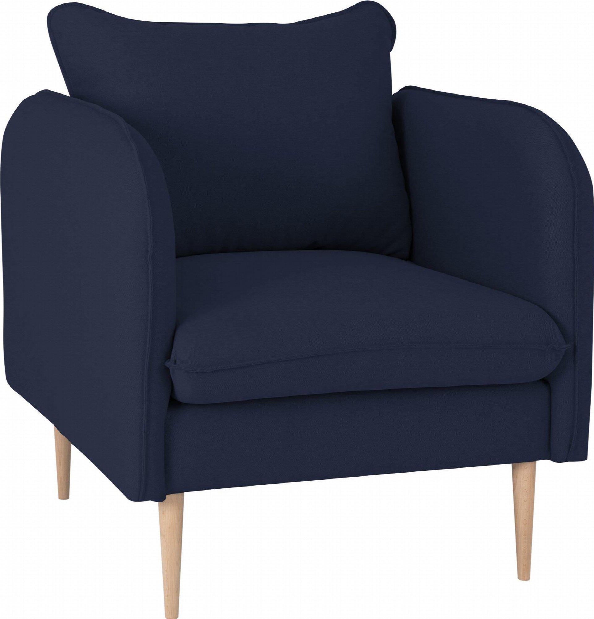 Fauteuil rembourré mousse haute résilience tissu bleu