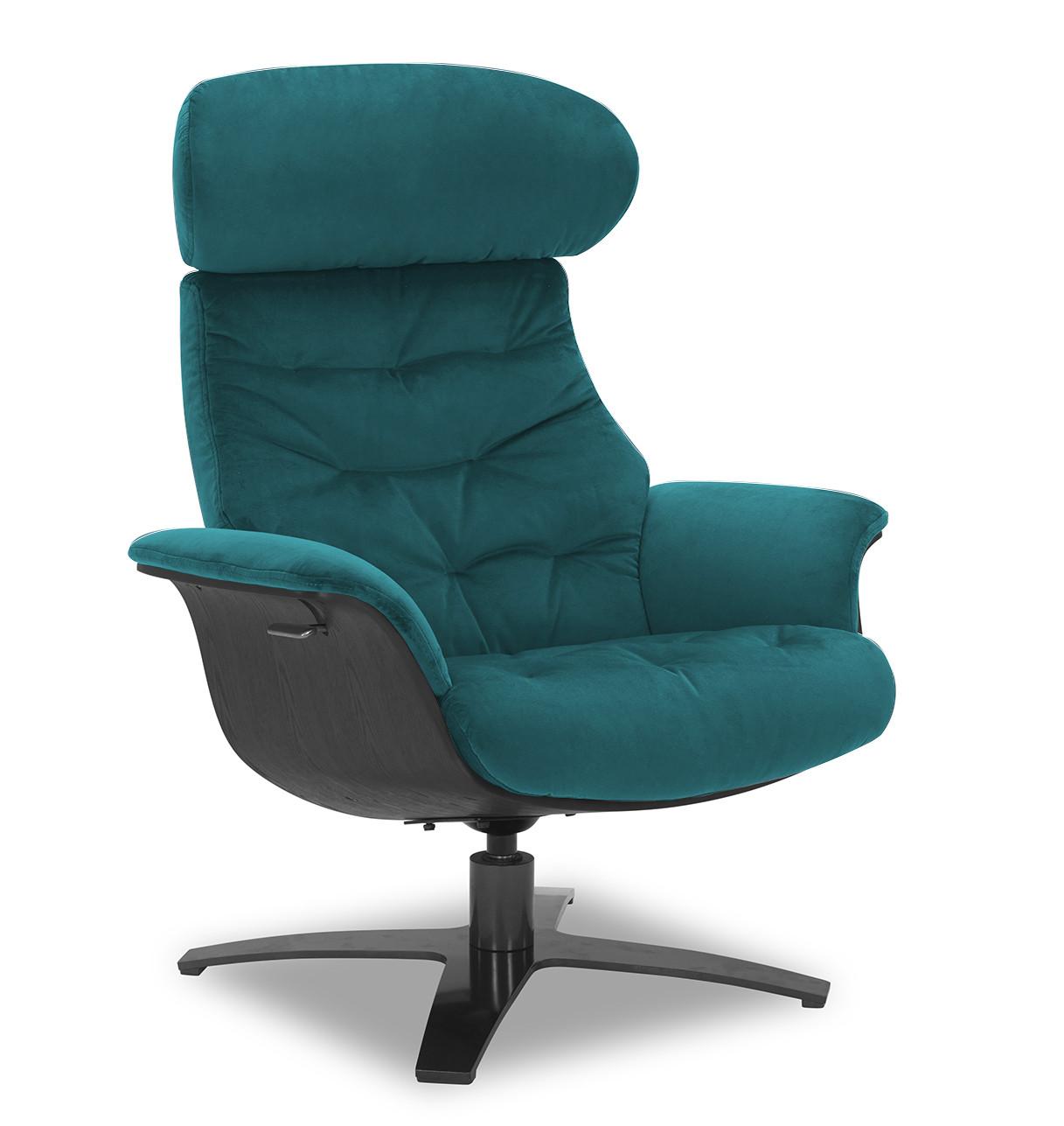 Fauteuil relax velours bleu-vert et chêne noir