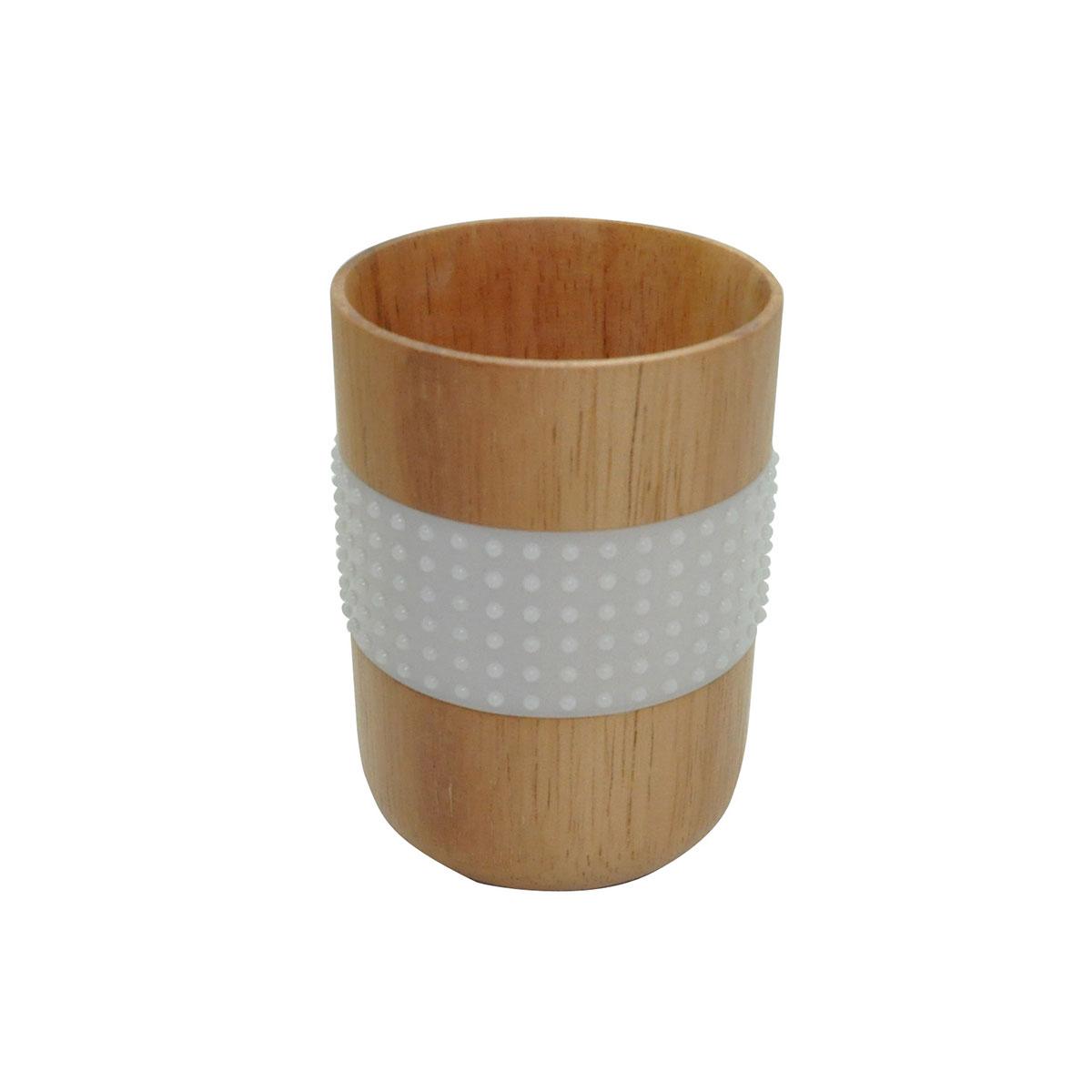 Gobelet en bois avec bande antidérapante bois et blanc