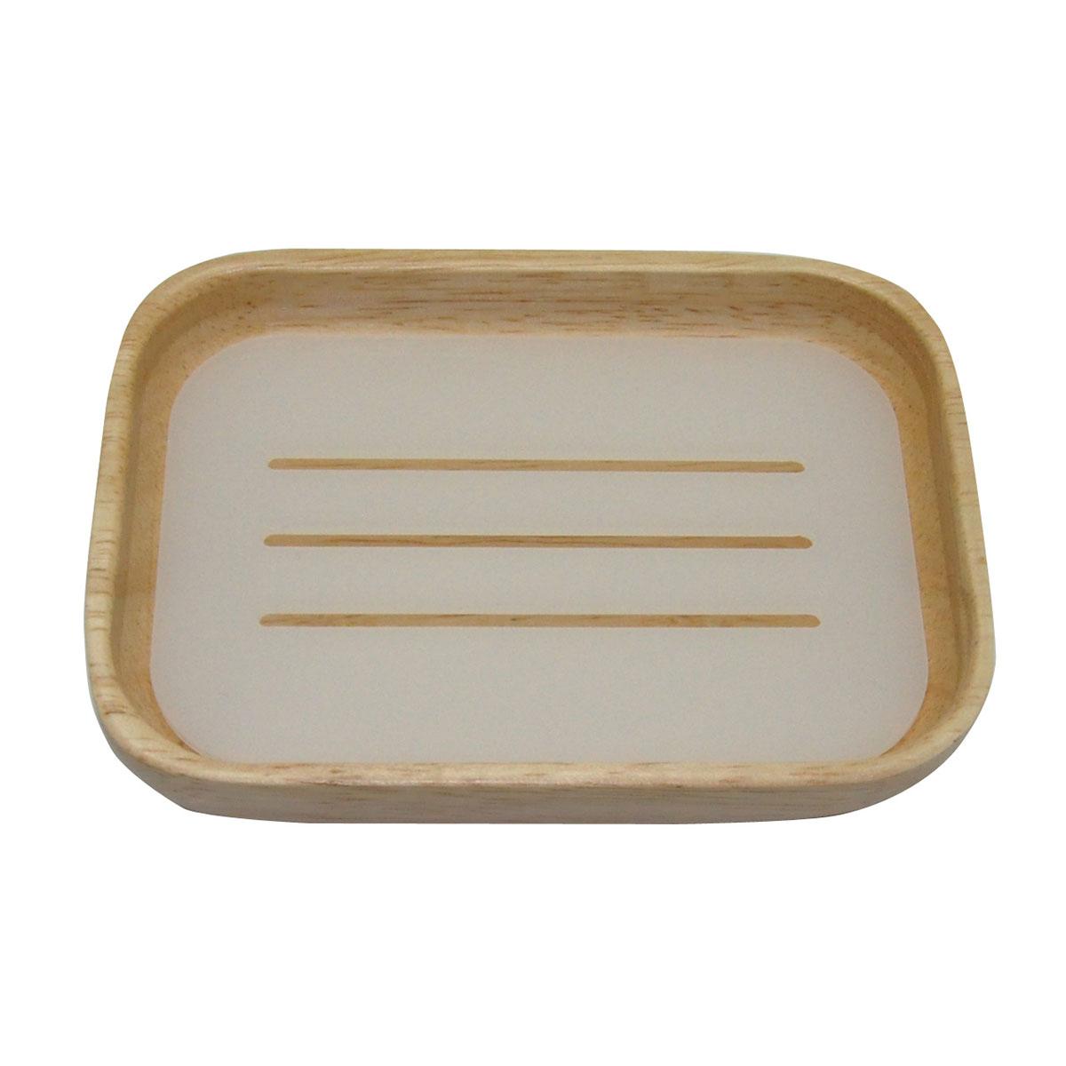 Porte savon en hévéa à intérieur blanc et bois