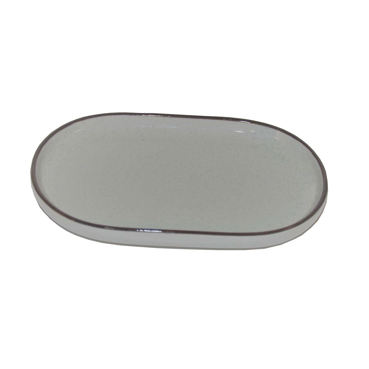 Porte savon ovale et bicolore gris
