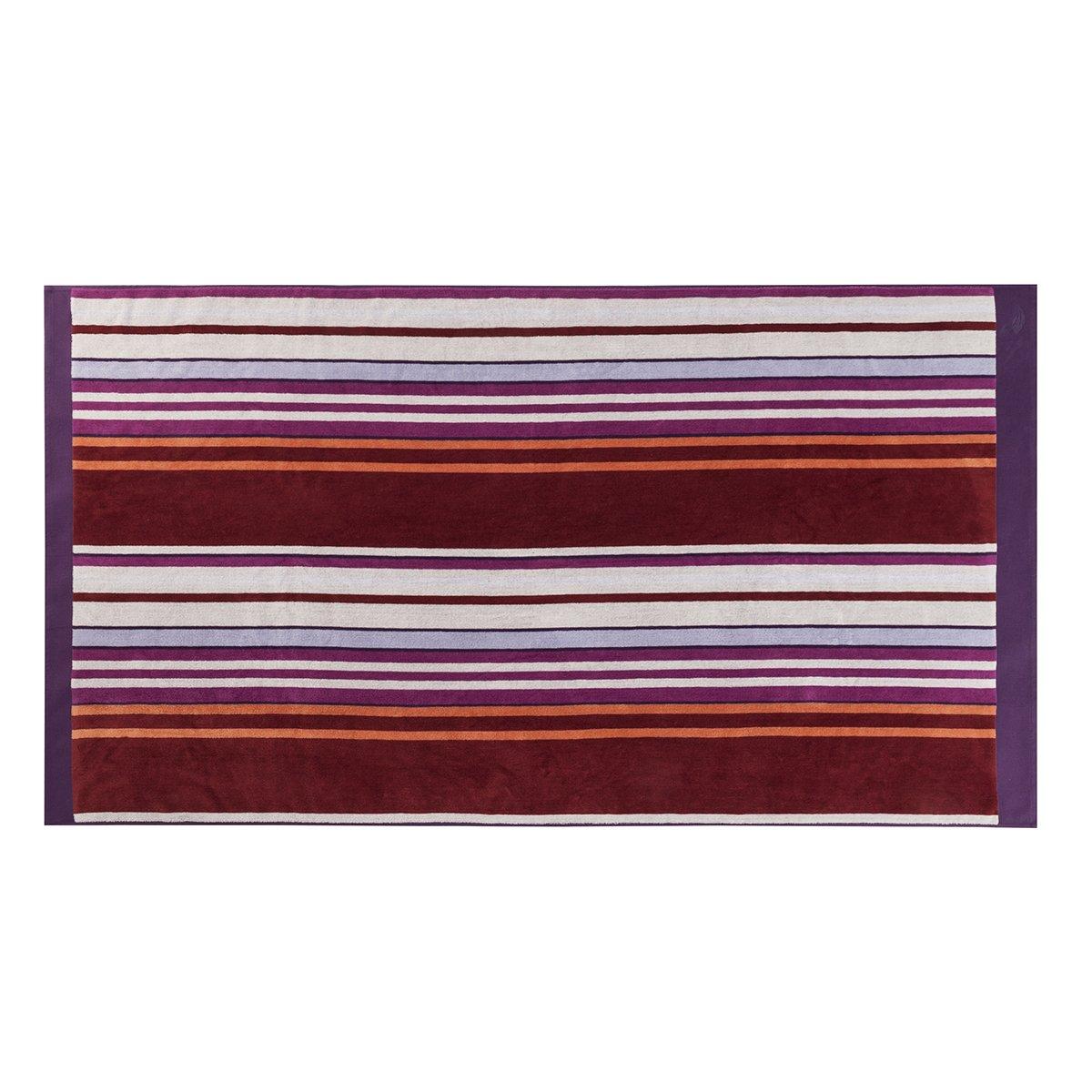 Drap de plage coton 100x180 cm violet rayé