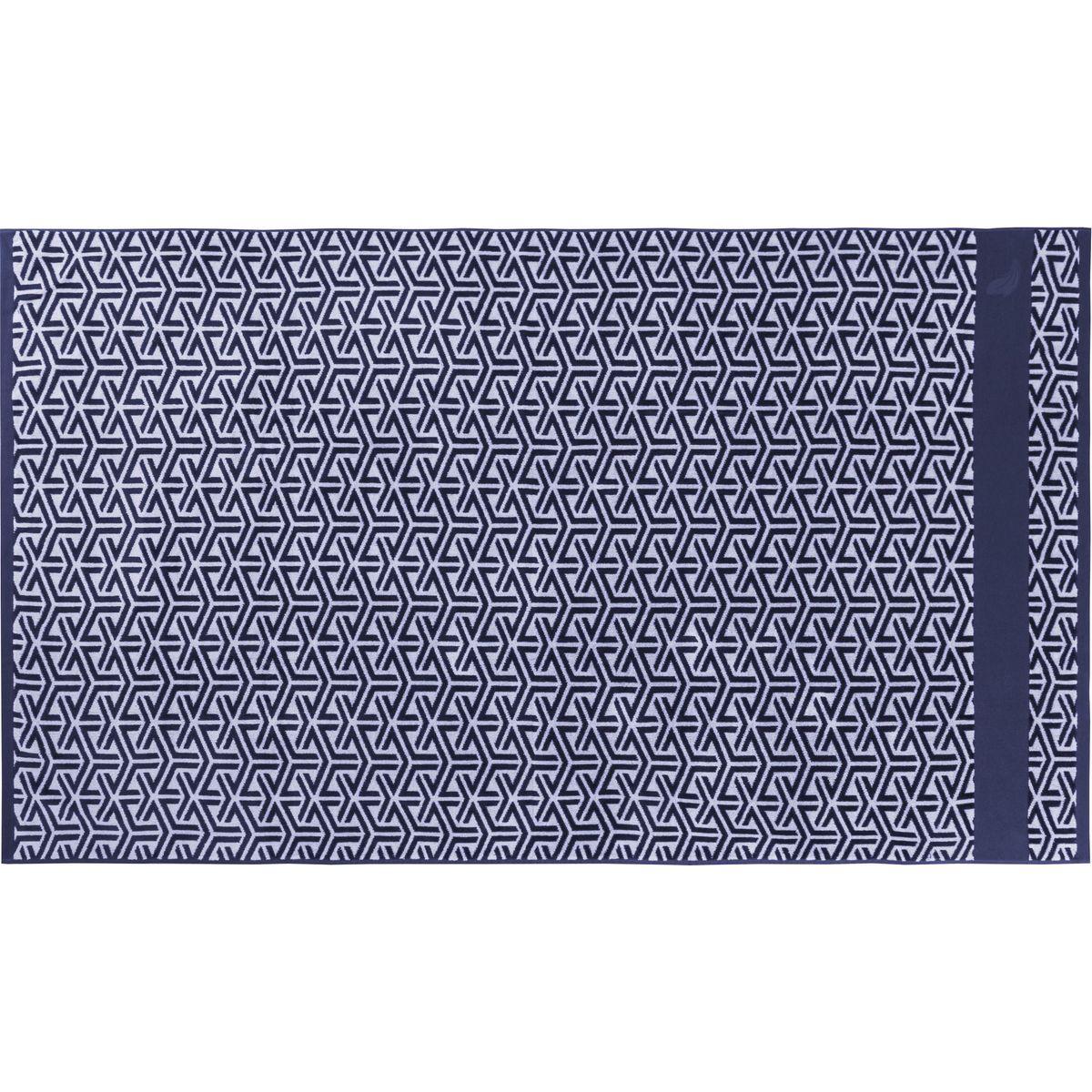 Drap de plage coton 100x180 cm bleu foncé imprimé