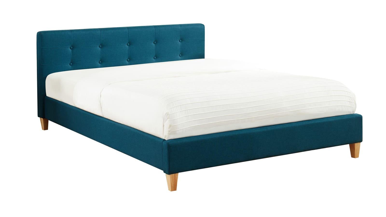 Lit bleu canard 140x190 avec sommier à lattes et tête de lit