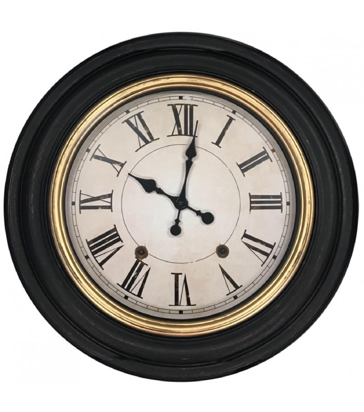 Horloge murale ronde noire et dorée D59