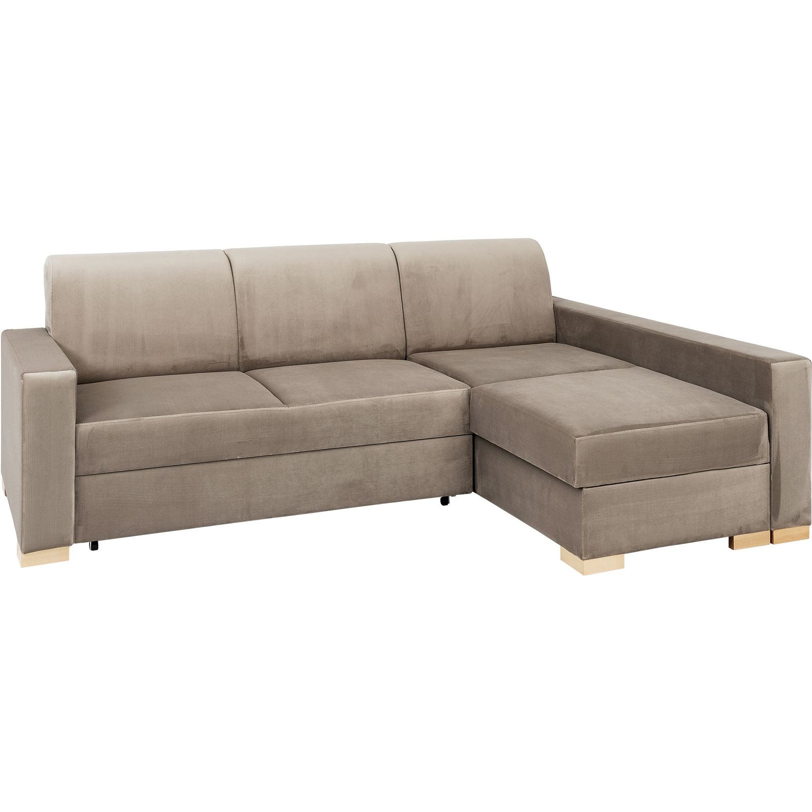 Canapé-lit d'angle droit 3 places beige h40cm