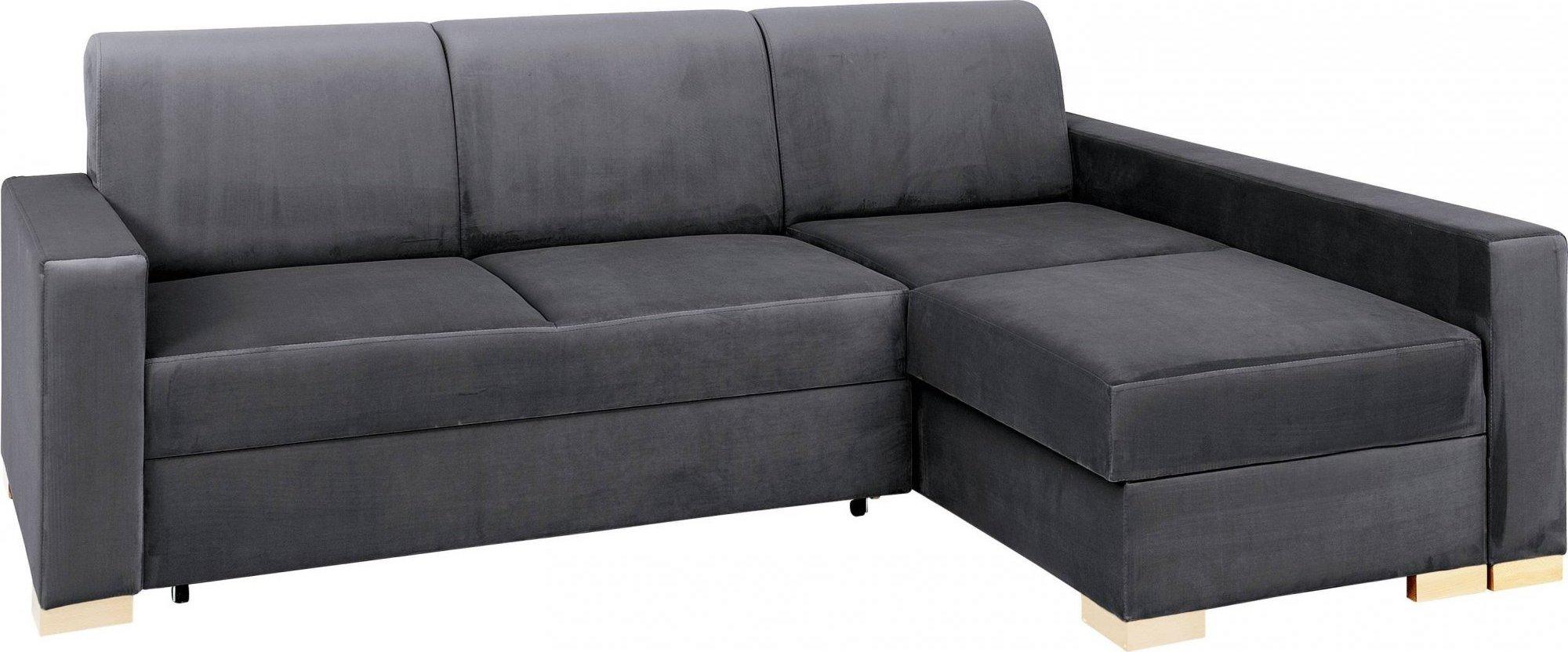 Canapé-lit d'angle droit 3 places gris h40cm