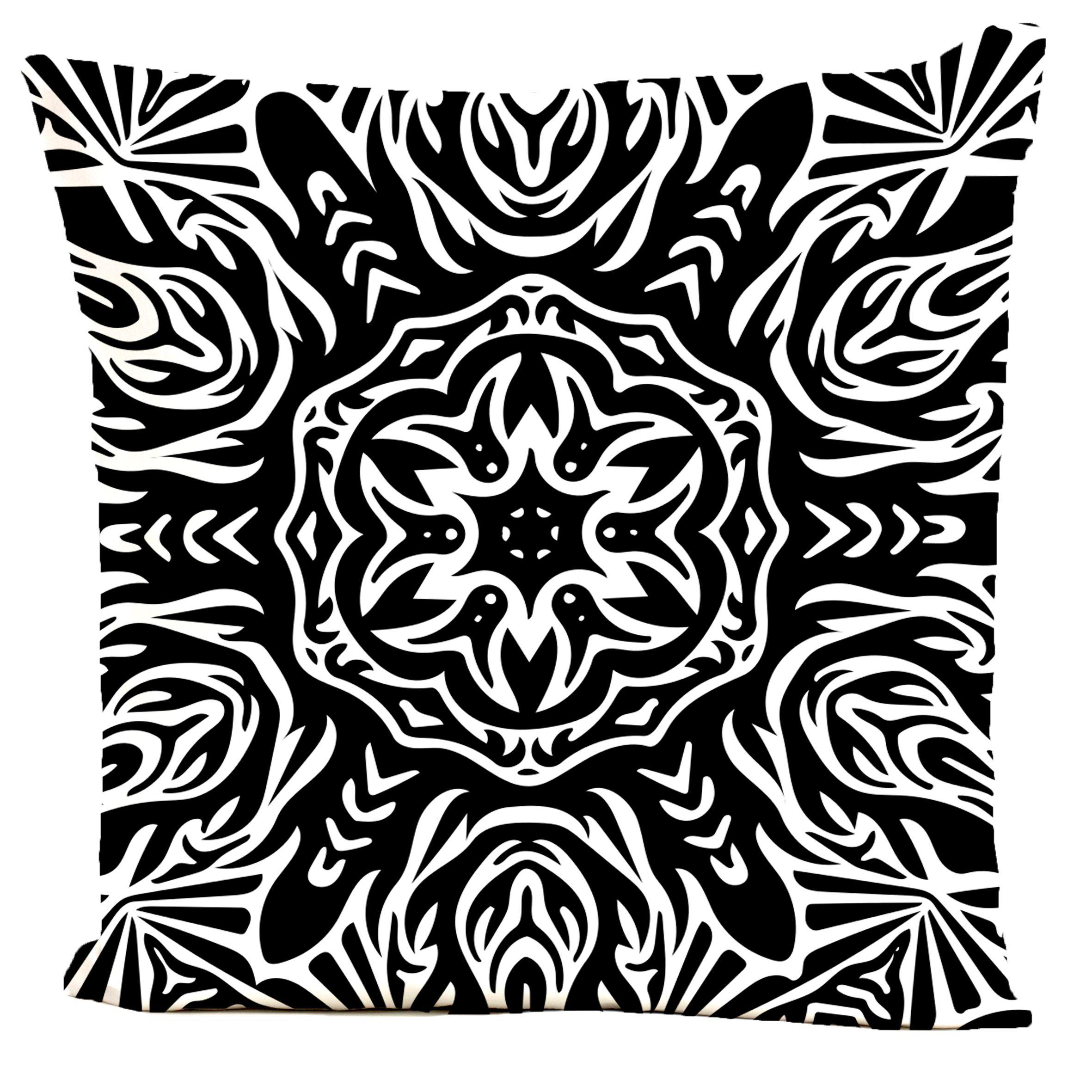 Coussin velours carré imprimé motifs noir et blanc 40x40
