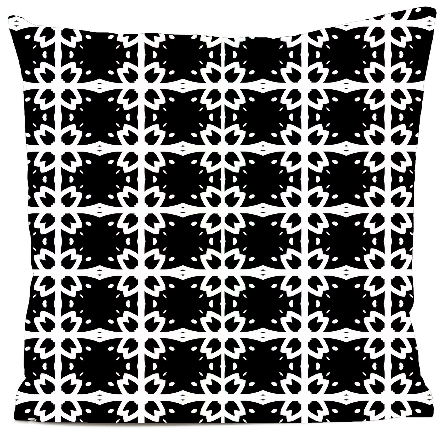Coussin velours carré imprimé motifs noir et blanc 60x60