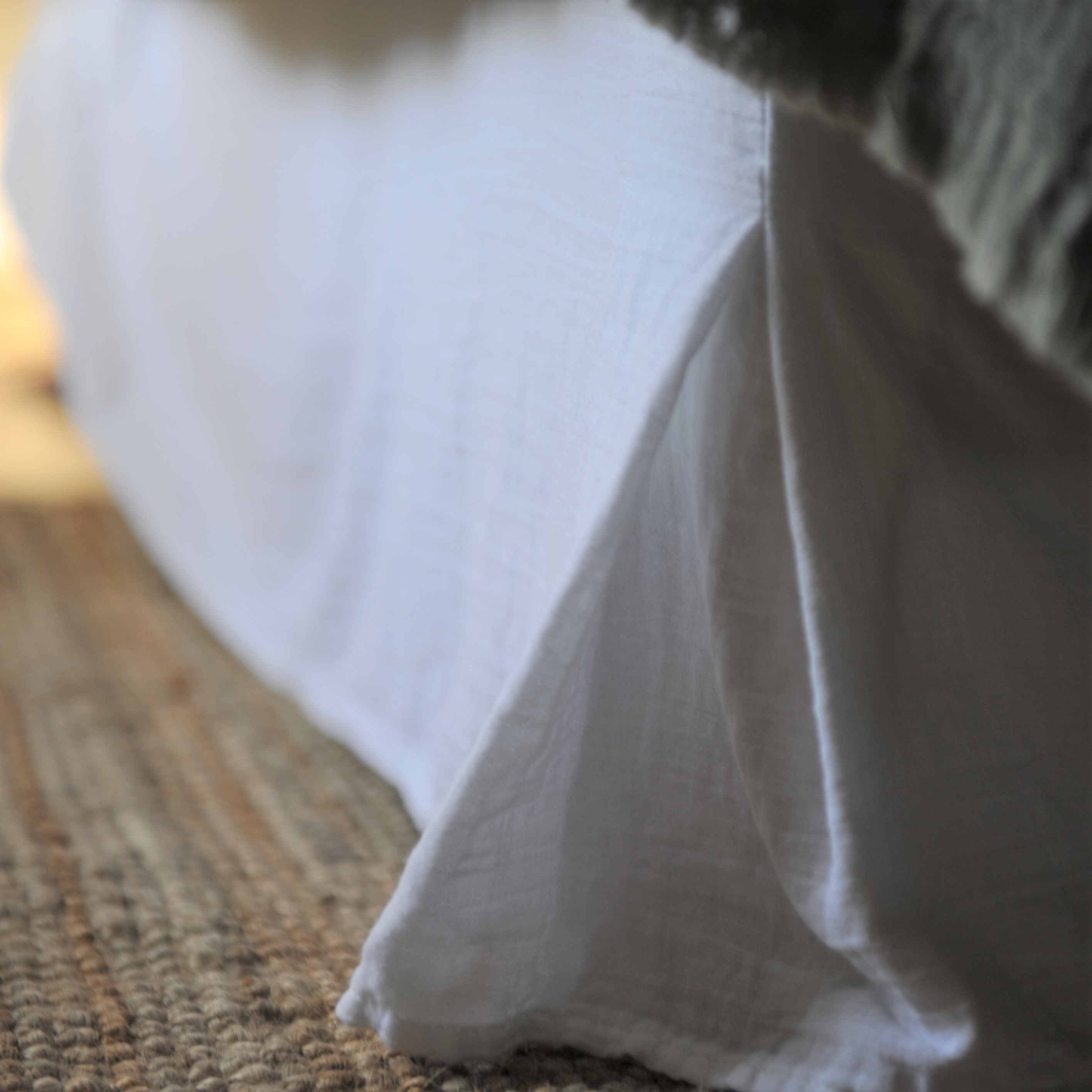 Cache sommier gaze de coton blanc 160X200X32 CM (photo)