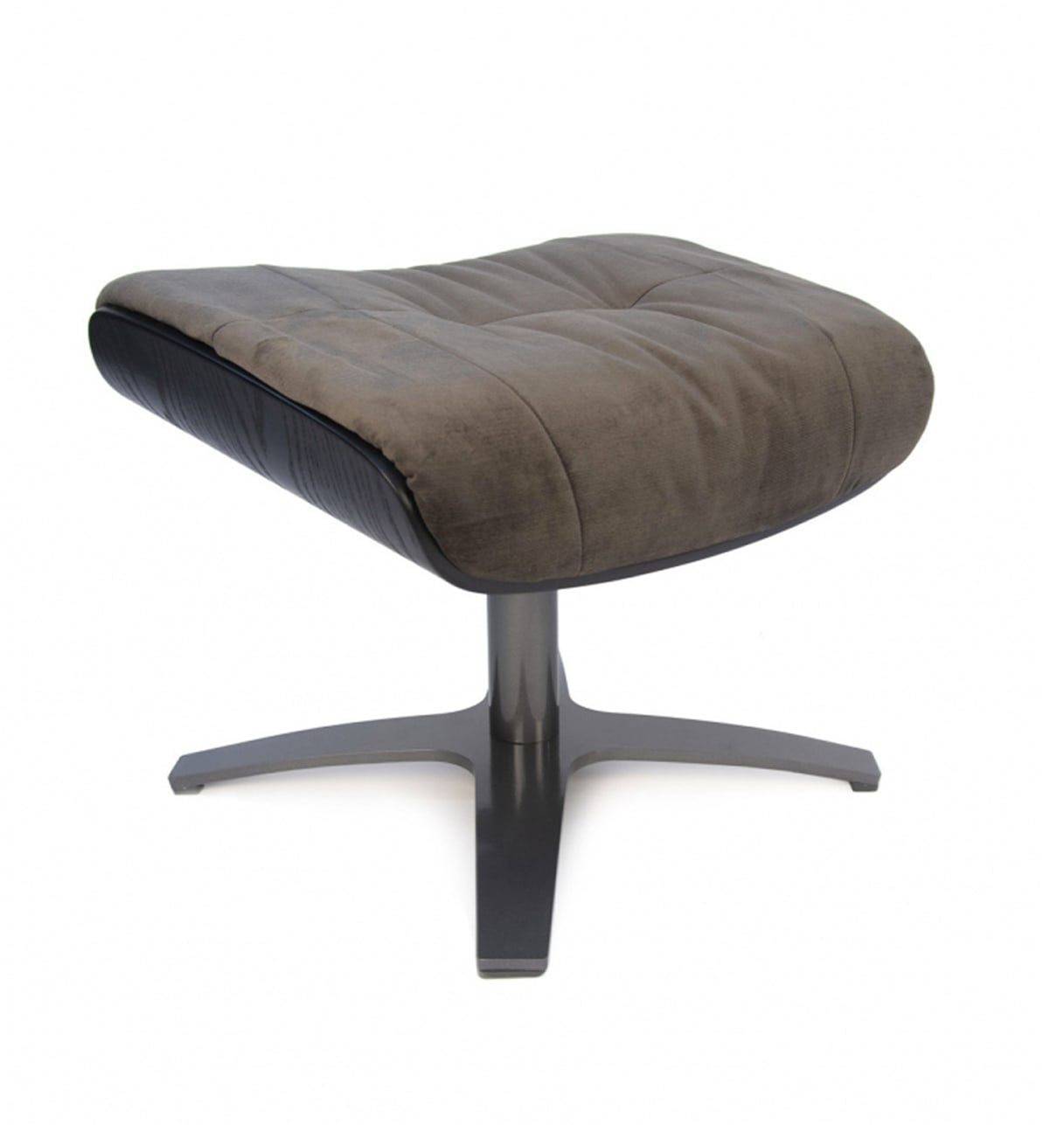 Repose-pieds de relaxation velours brun et chêne noir