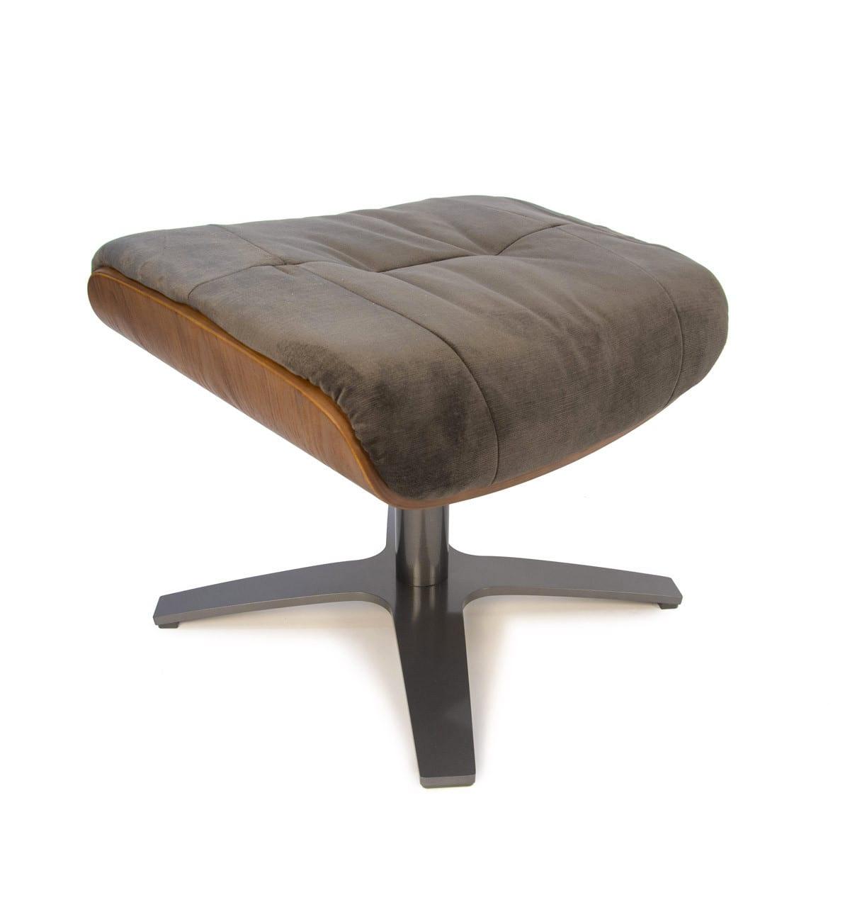Repose-pieds de relaxation velours brun et chêne naturel