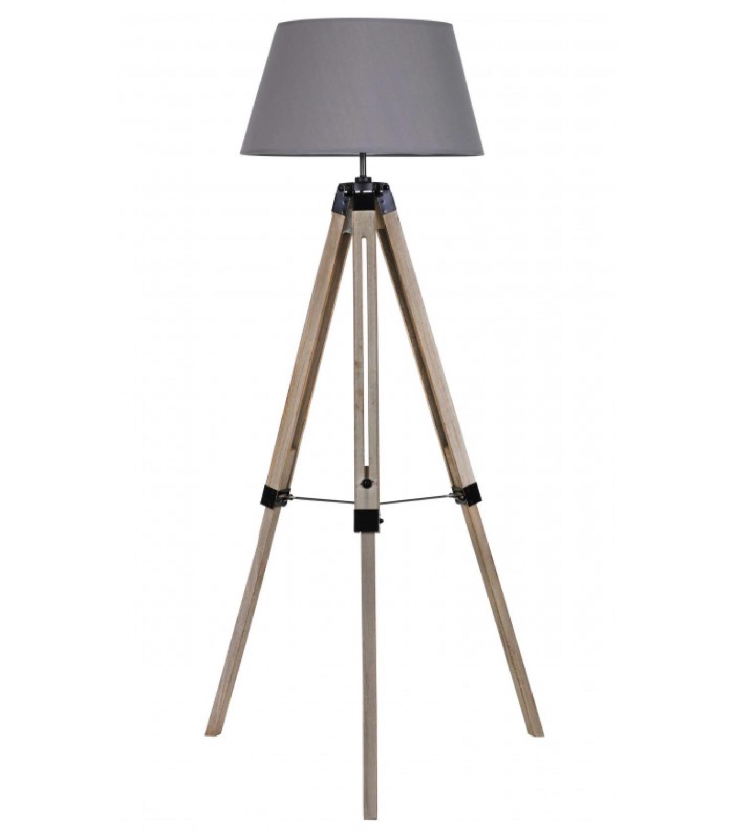 Lampadaire trépied bois abat-jour gris foncé H144cm