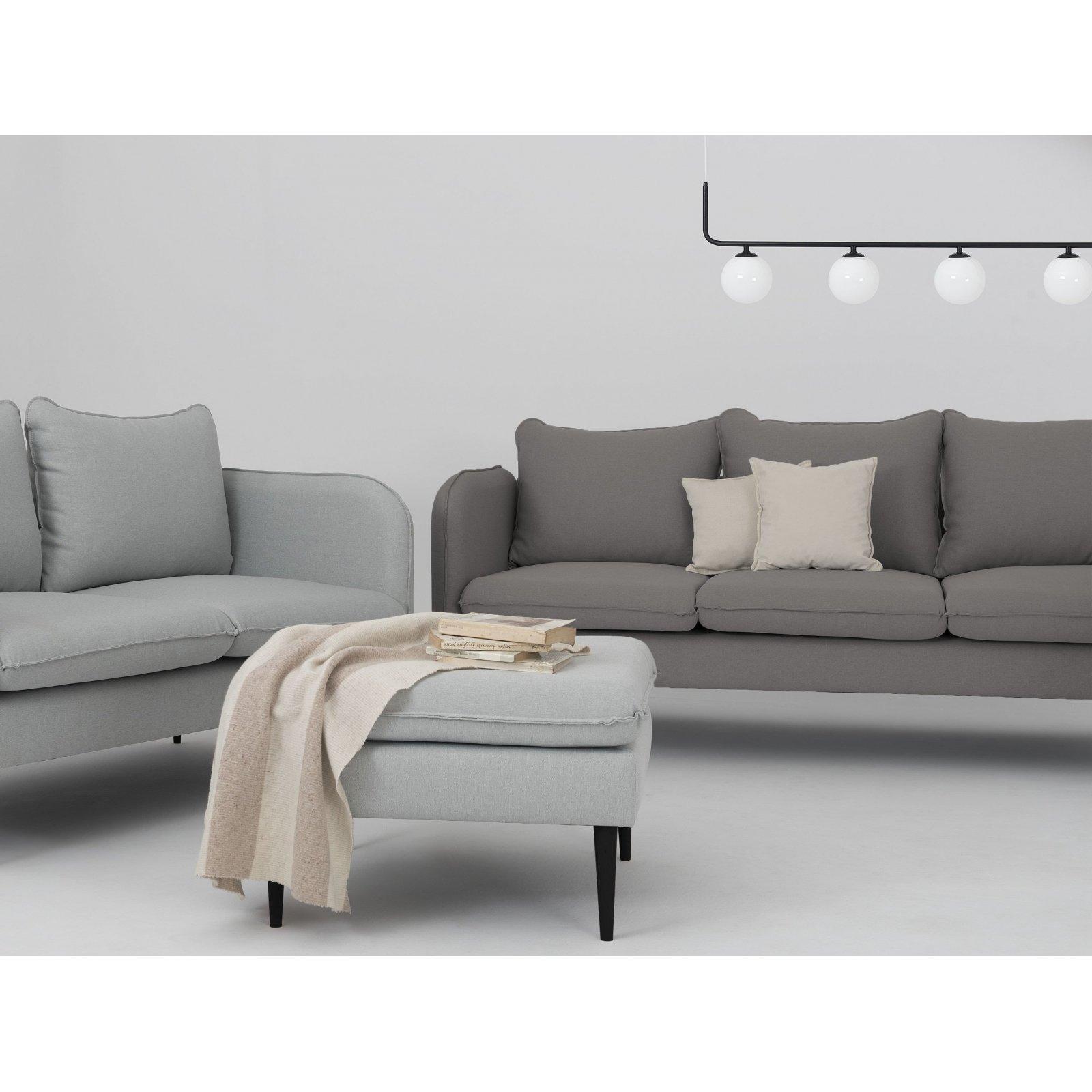 Canapé tissu 3 places gris acier h45cm