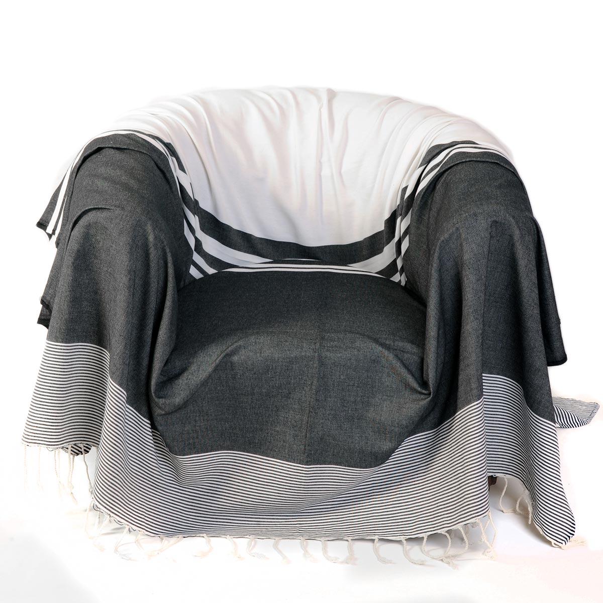TANGER - Jeté de fauteuil 100% coton rayures noir et blanc 200 x 200