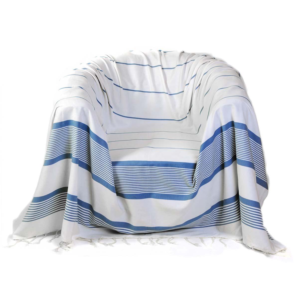 CARTHAGE - Jeté de fauteuil 100% coton blanc rayures bleu 200 x 200